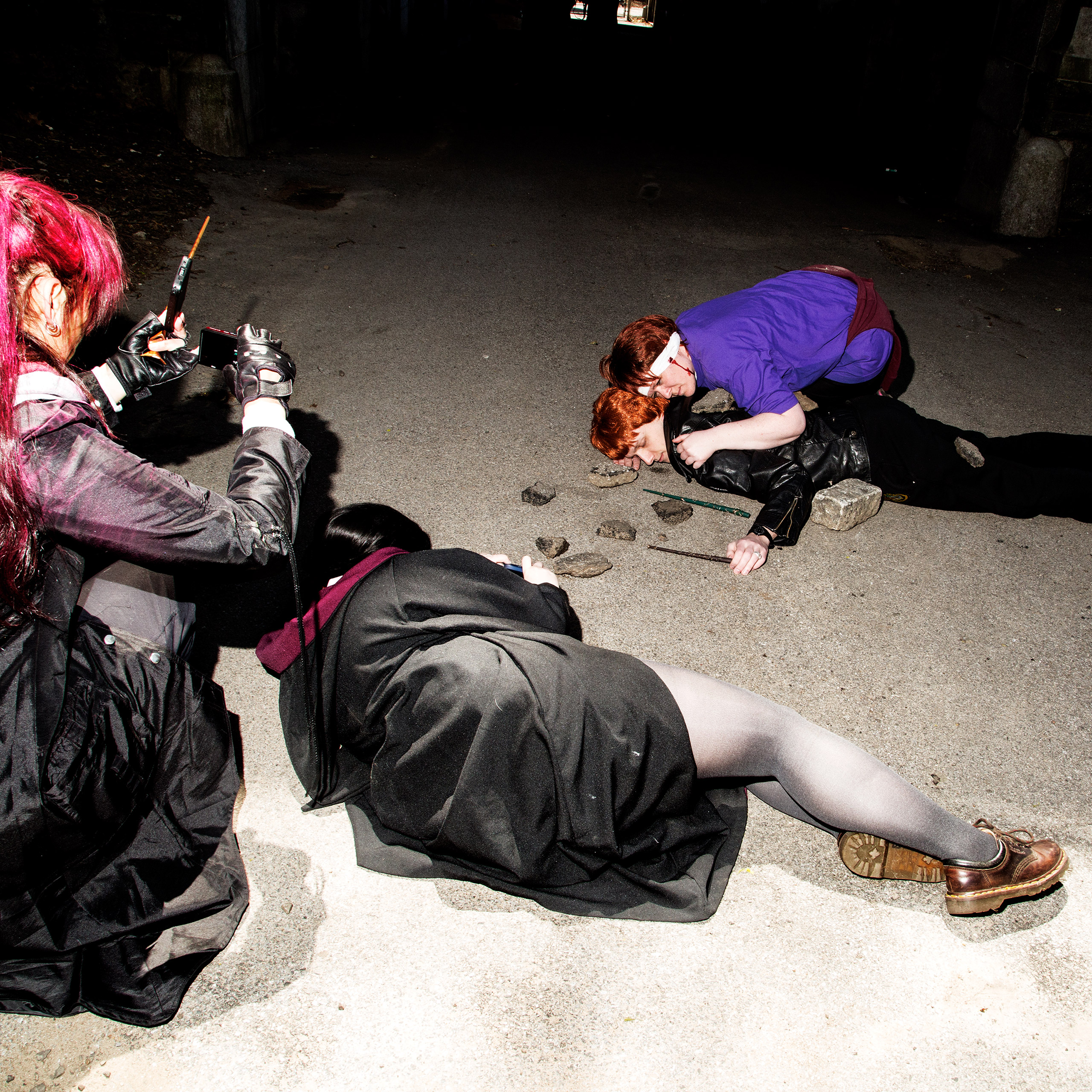 Members cosplay as the Weasley's at a gathering at Fort Tyron Park in Inwood.