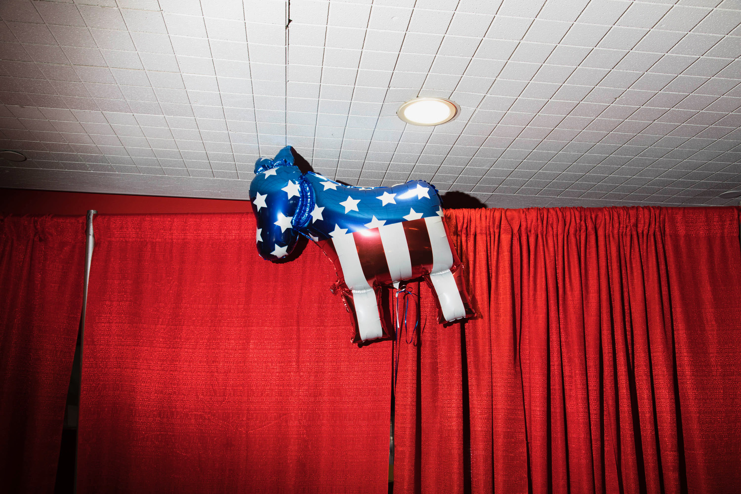 A balloon shaped like a donkey is seen at an election night party for Hillary Clinton at the Javits Center, on Nov. 8, 2016, in New York.