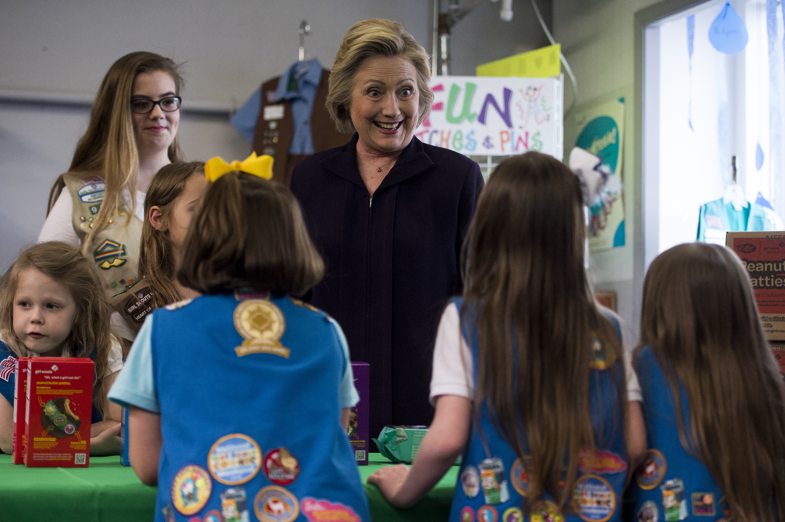Hillary Clinton buys Girl Scout cookies at the Girl Scouts of Kentucky shop in Ashland, Ky., on May 2, 2016.