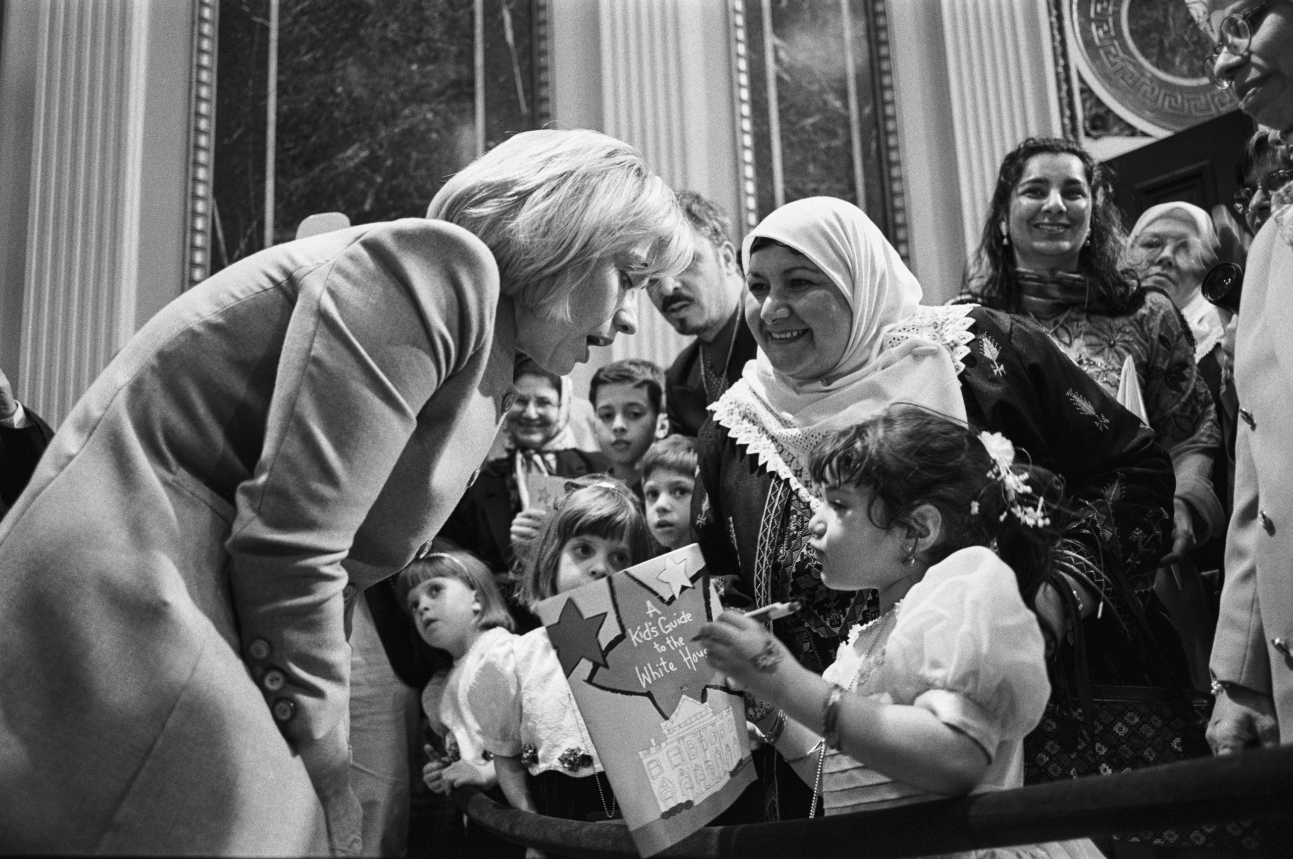 Hillary Clinton meets with Muslim Americans in the White House Indian Treaty Room to commemorate the end of Ramadan, on Jan. 29, 1998.