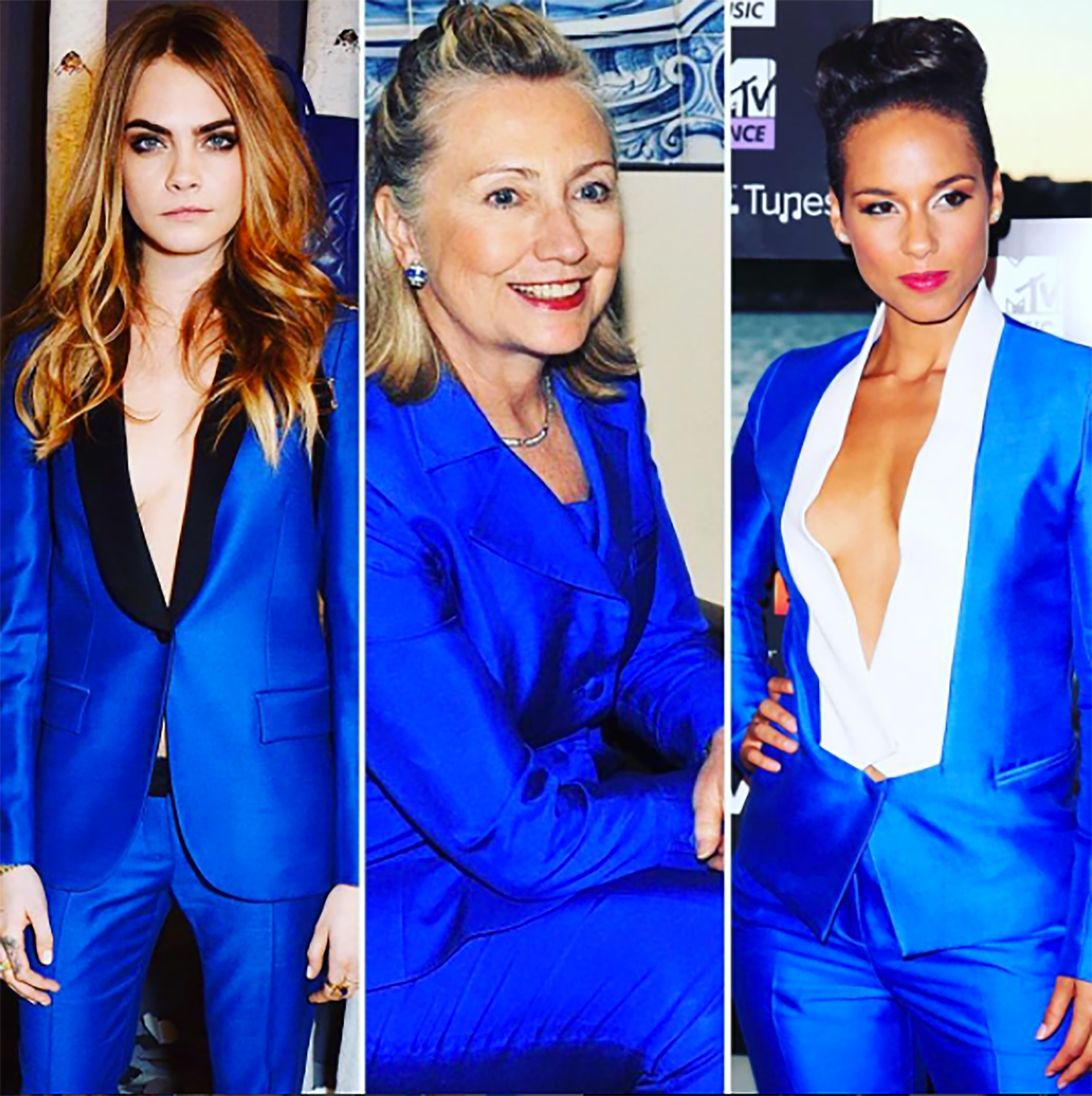 'Everyone knows #hillaryclinton has a strong #pantsuit game, but if #caradelevingne (at her #mullberry collection launch) and #aliciakeys (in #Sydney) are any indication, you can #suitup on the #redcarpet as well as the campaign trail.