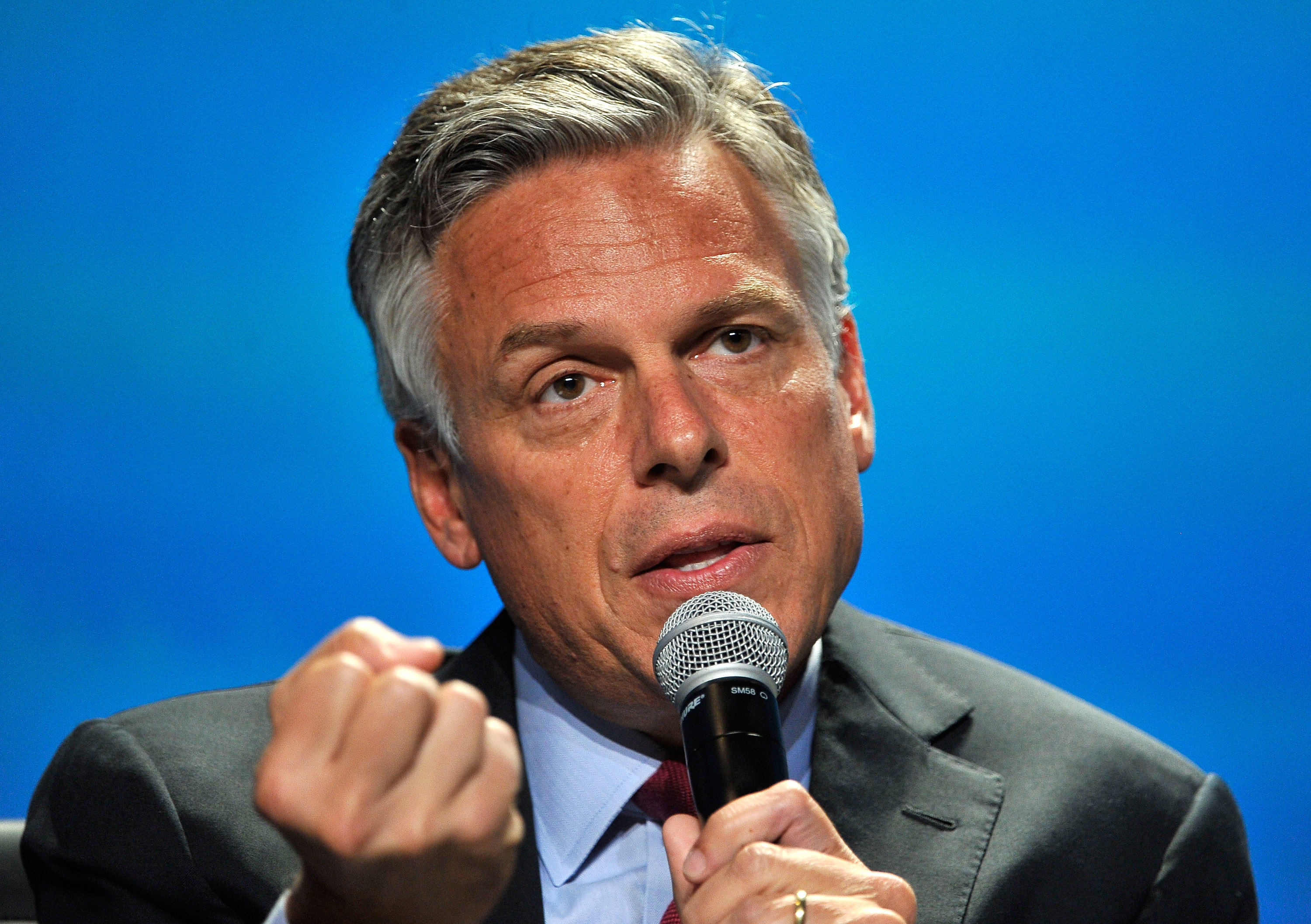 Former Utah Gov. Jon Huntsman Jr. speaks at the National Clean Energy Summit 7.0 at the Mandalay Bay Convention Center in Las Vegas on Sept. 4, 2014.