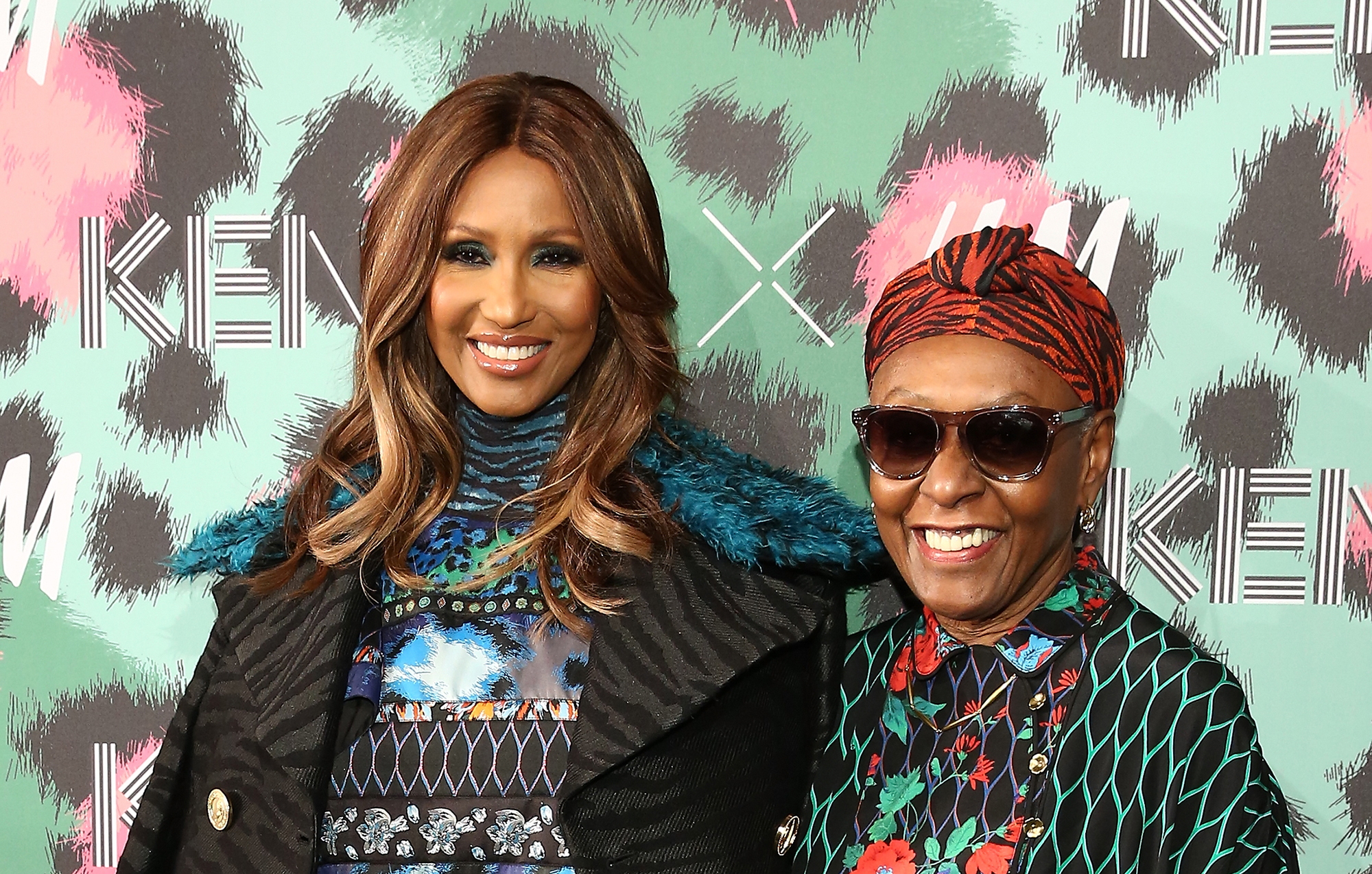 Iman and Bethann Hardison attend KENZO x H&M - Arrivals at Pier 36 on October 19, 2016 in New York City.  (Photo by Monica Schipper/WireImage)