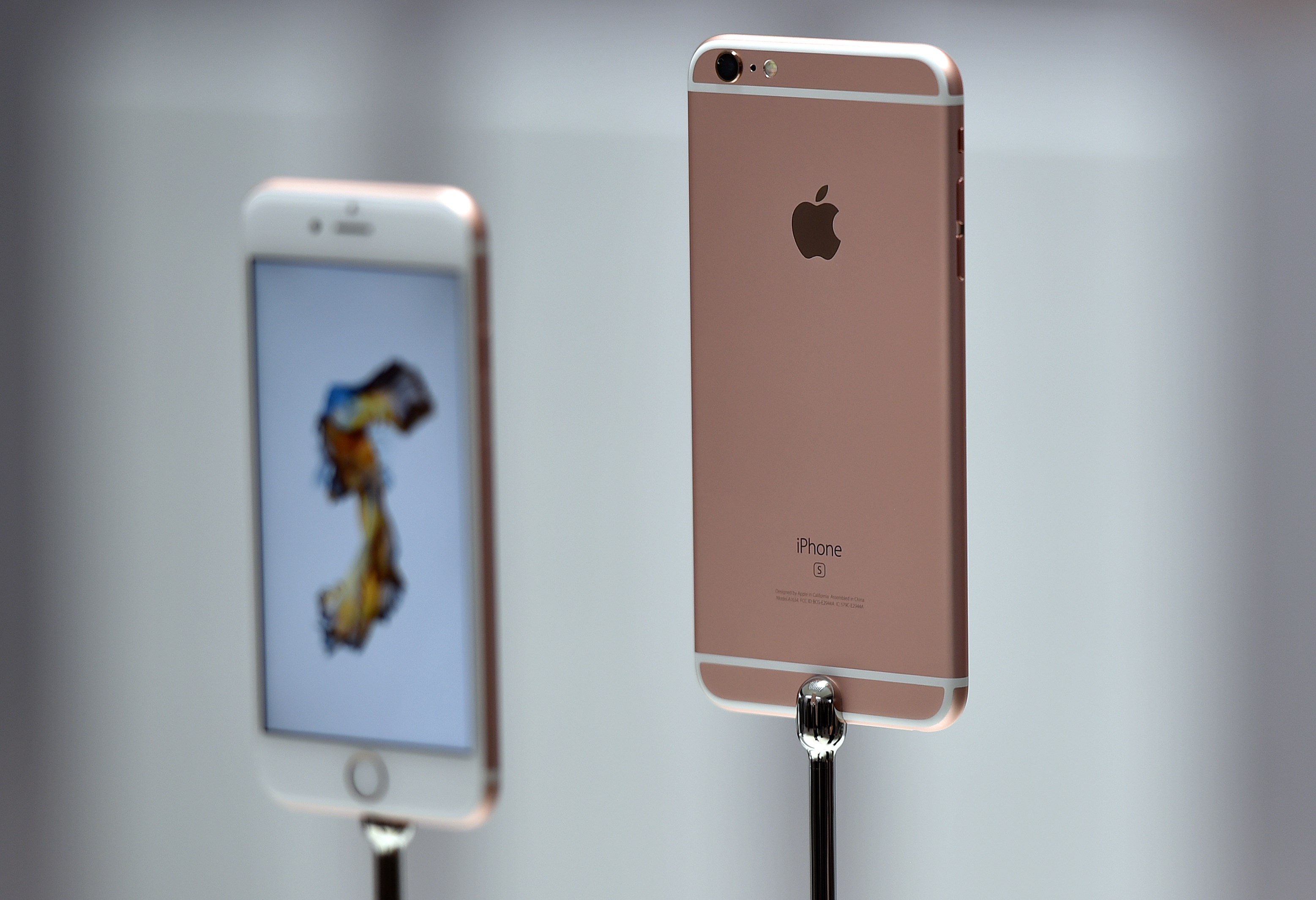 New models of the iPhone 6s are seen displayed during an Apple media event in San Francisco, California on September 9, 2015.