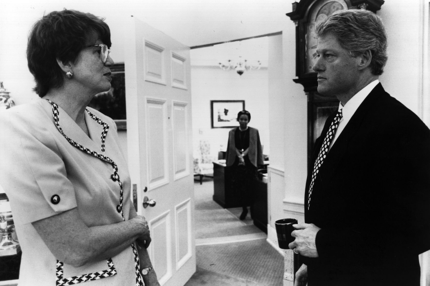 Attorney General Janet Reno and President Bill Clinton in the White House, Washington DC, in 1993.