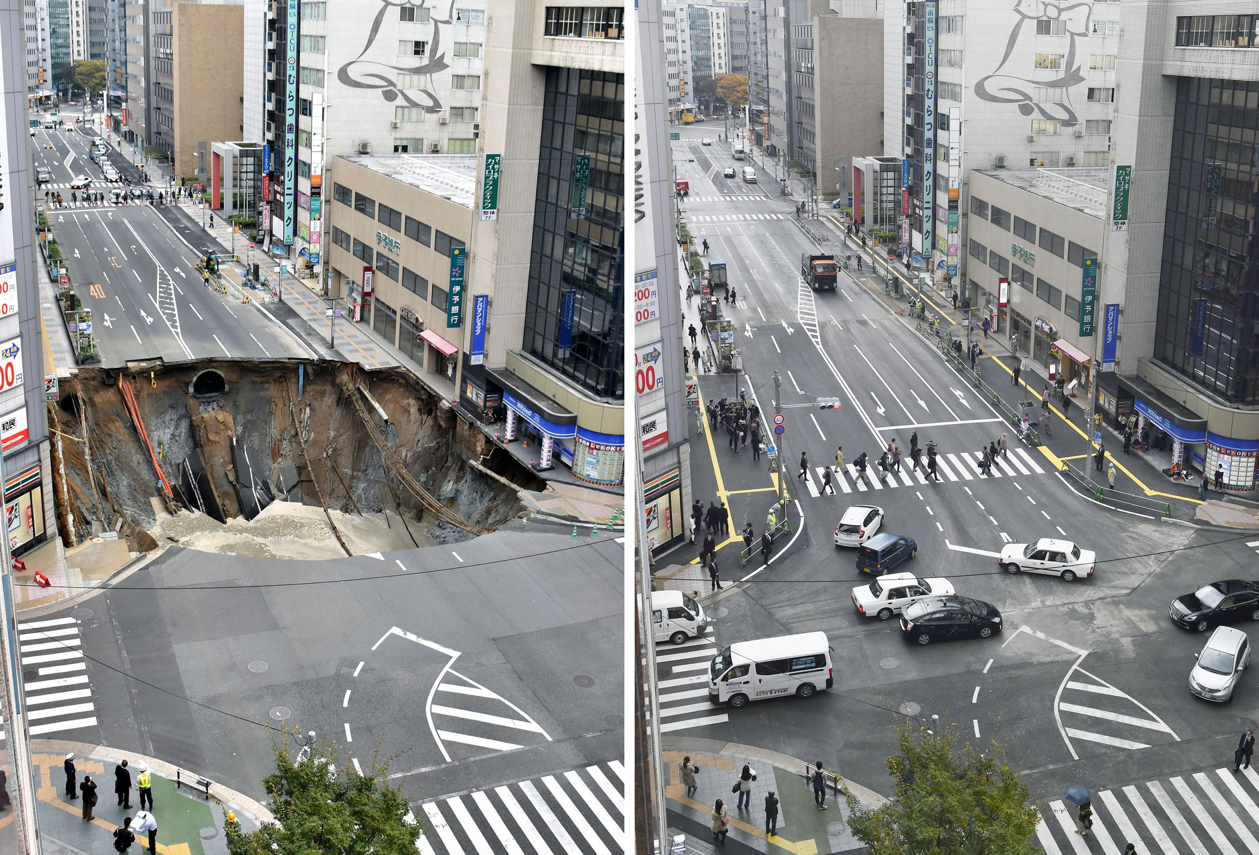 A combination photo shows a sinkhole in Fukuoka, Japan, on Nov. 8, 2016, left, and fixed a week later on Nov. 15, 2016.