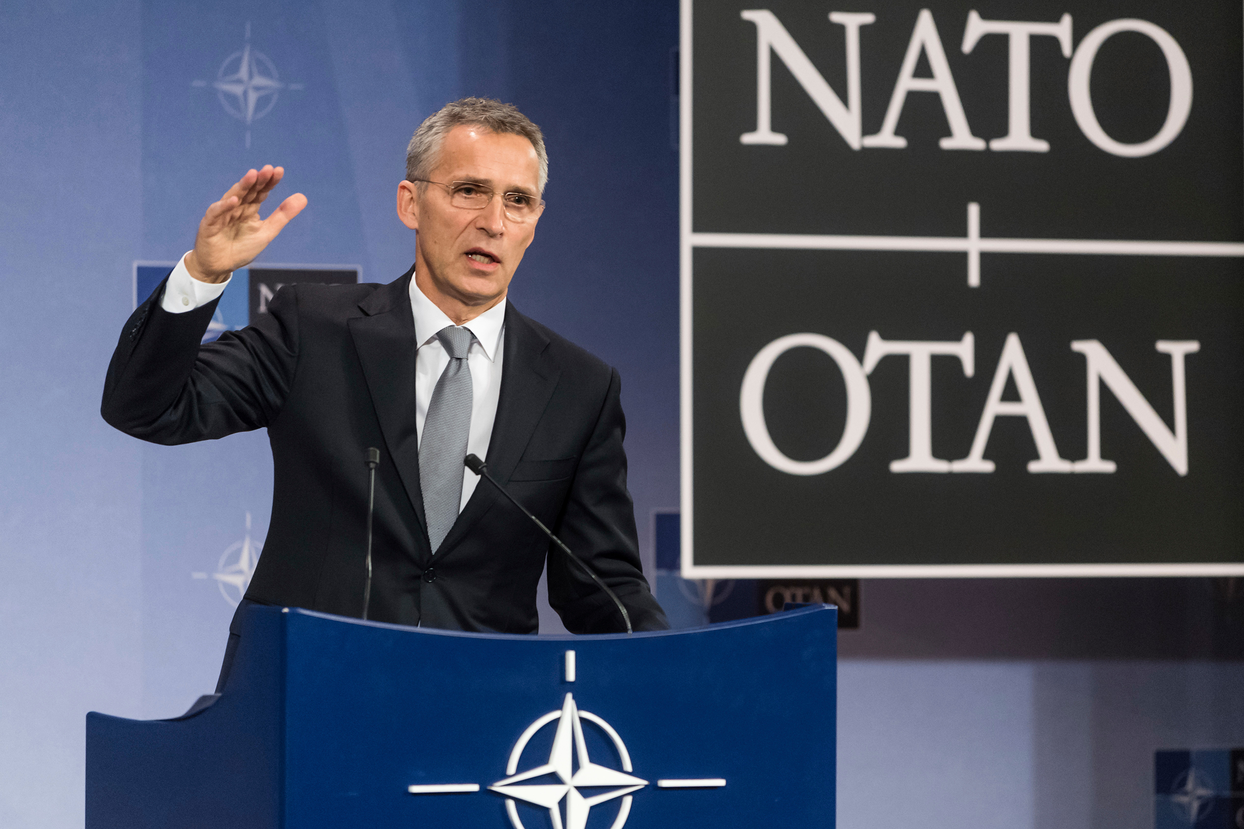 NATO Secretary-General Jens Stoltenberg addresses the media after a meeting of the North Atlantic Council in Defense Ministers session at NATO headquarters in Brussels on Oct. 27, 2016. The session included tense relations with Russia, how to help Middle East nations combat extremism and cooperation between the military alliance and the E.U.