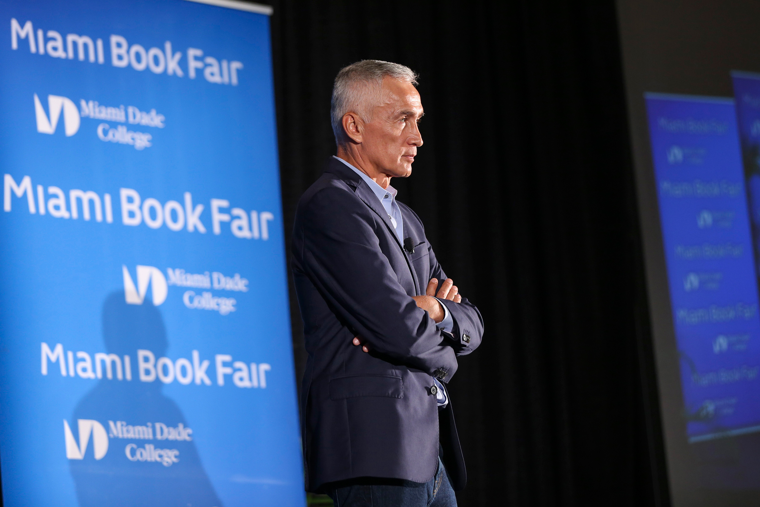 Jorge Ramos speaks during the Miami Book Fair in downtown Miami on Nov. 13, 2016.