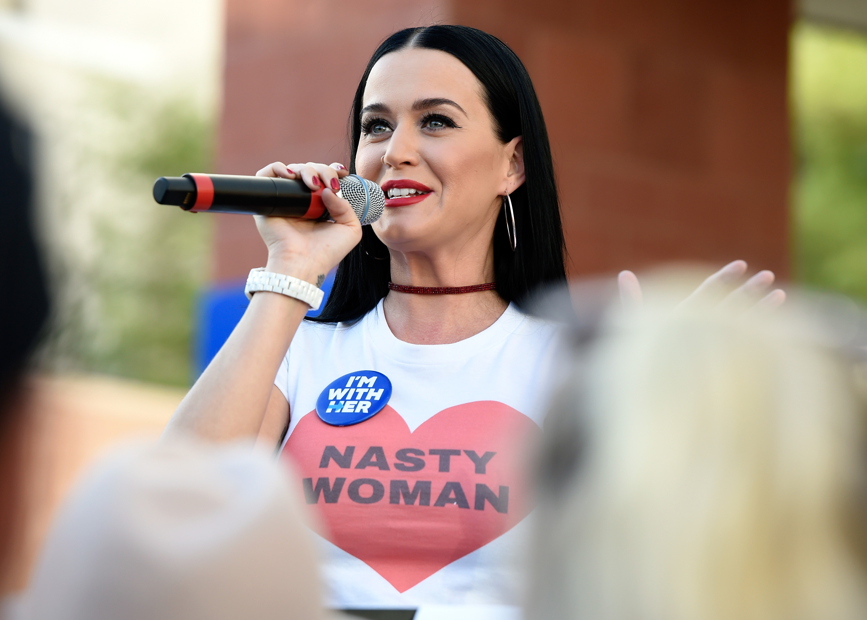 Singer Katy Perry speaks during a get out the early vote rally as she campaigns for Democratic presidential candidate Hillary Clinton at UNLV on Oct. 22, 2016 in Las Vegas, Nevada.