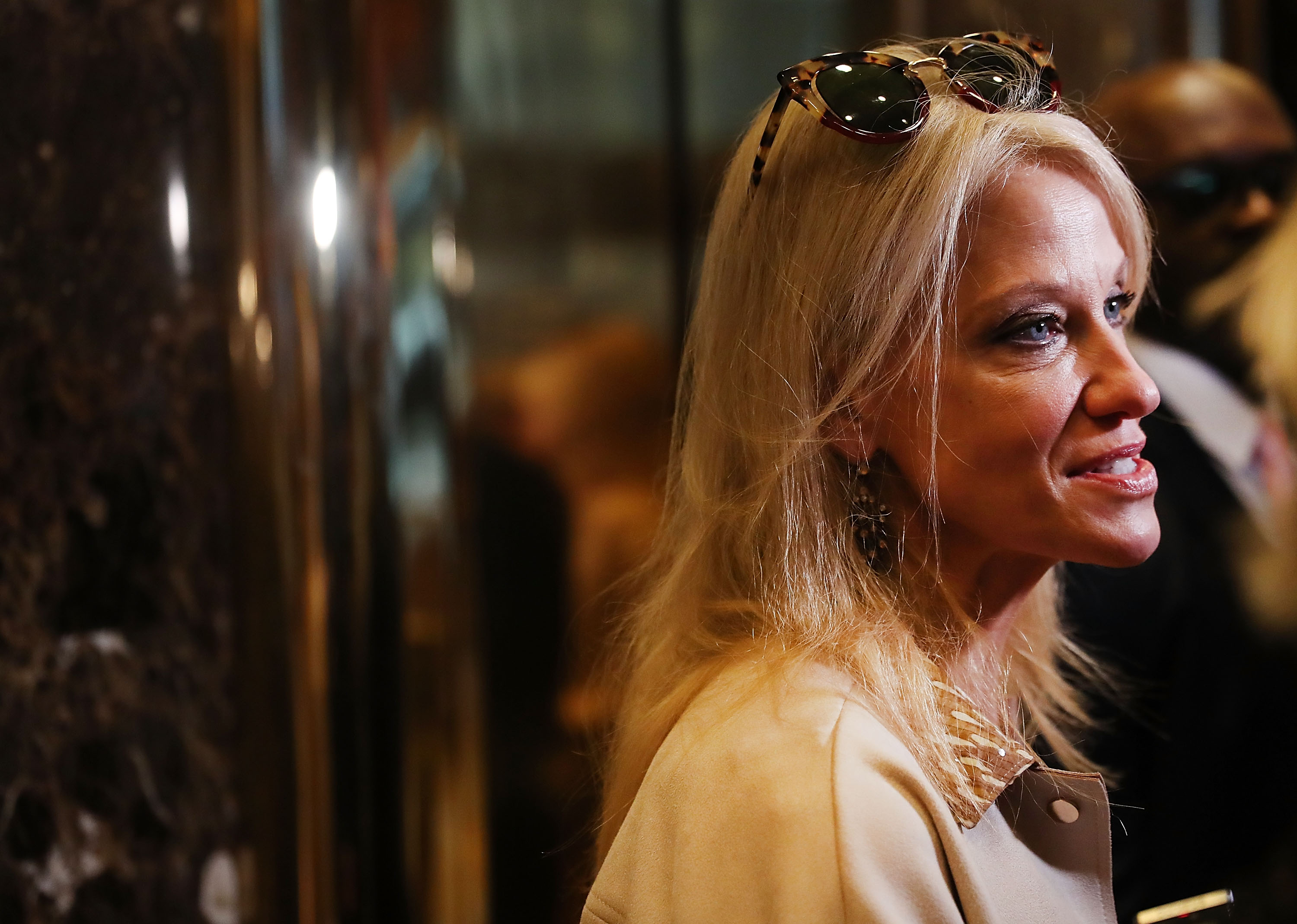 Donald Trump's campaign manager Kellyanne Conway speaks to the media while entering Trump Tower on Nov. 14, 2016 in New York City.