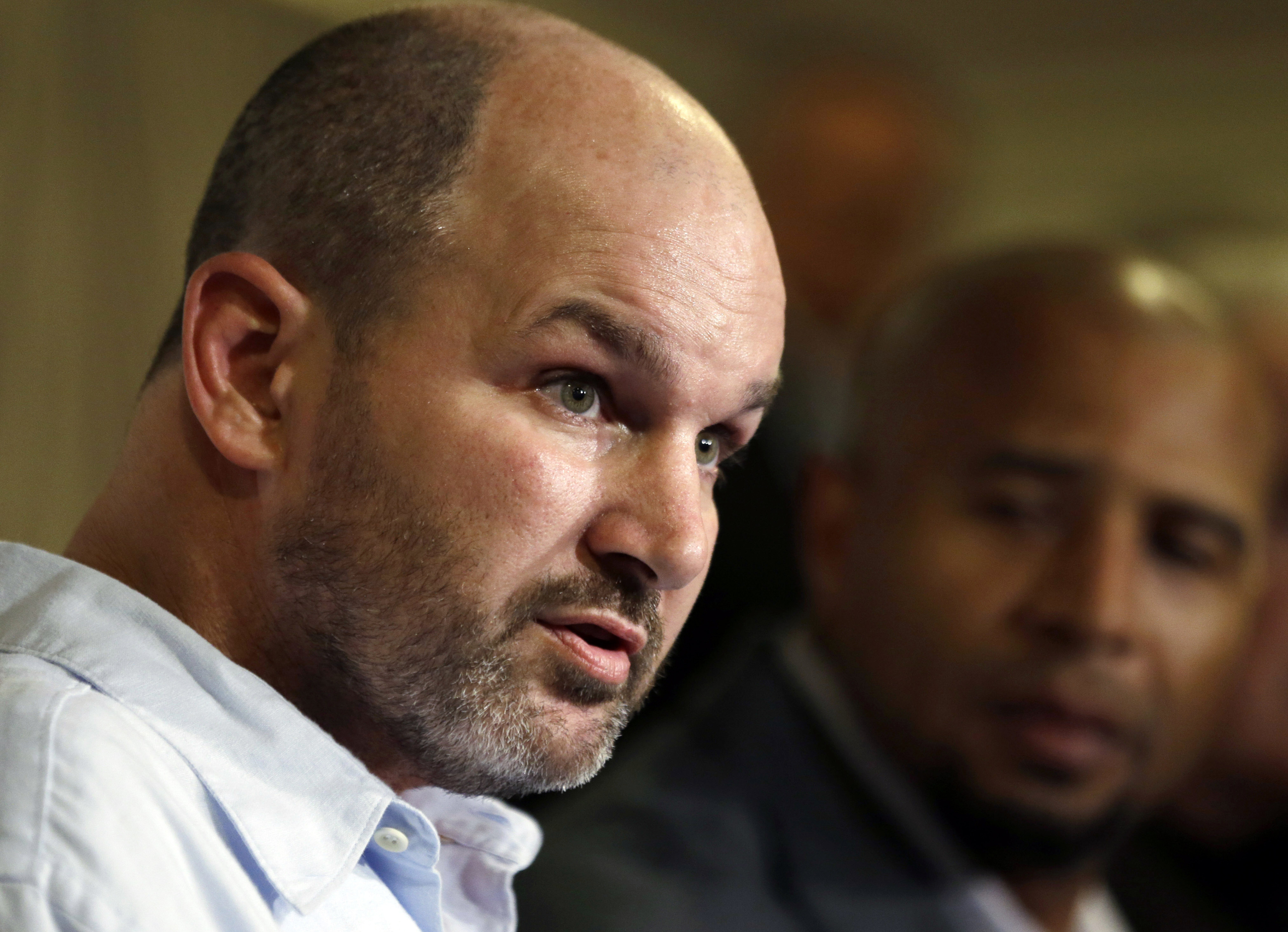 Former NFL player Kevin Turner spoke during a news conference in Philadelphia on April 9, 2013.