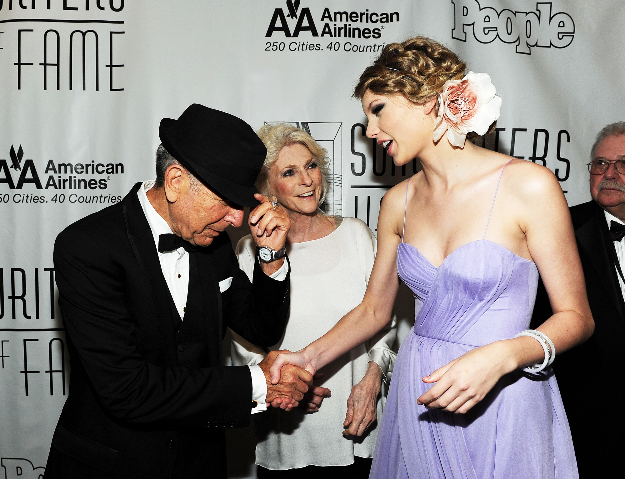 From left: Leonard Cohen, Judy Collins and Taylor Swift at the 41st Annual Songwriters Hall of Fame Ceremony on June 17, 2010 in New York City.