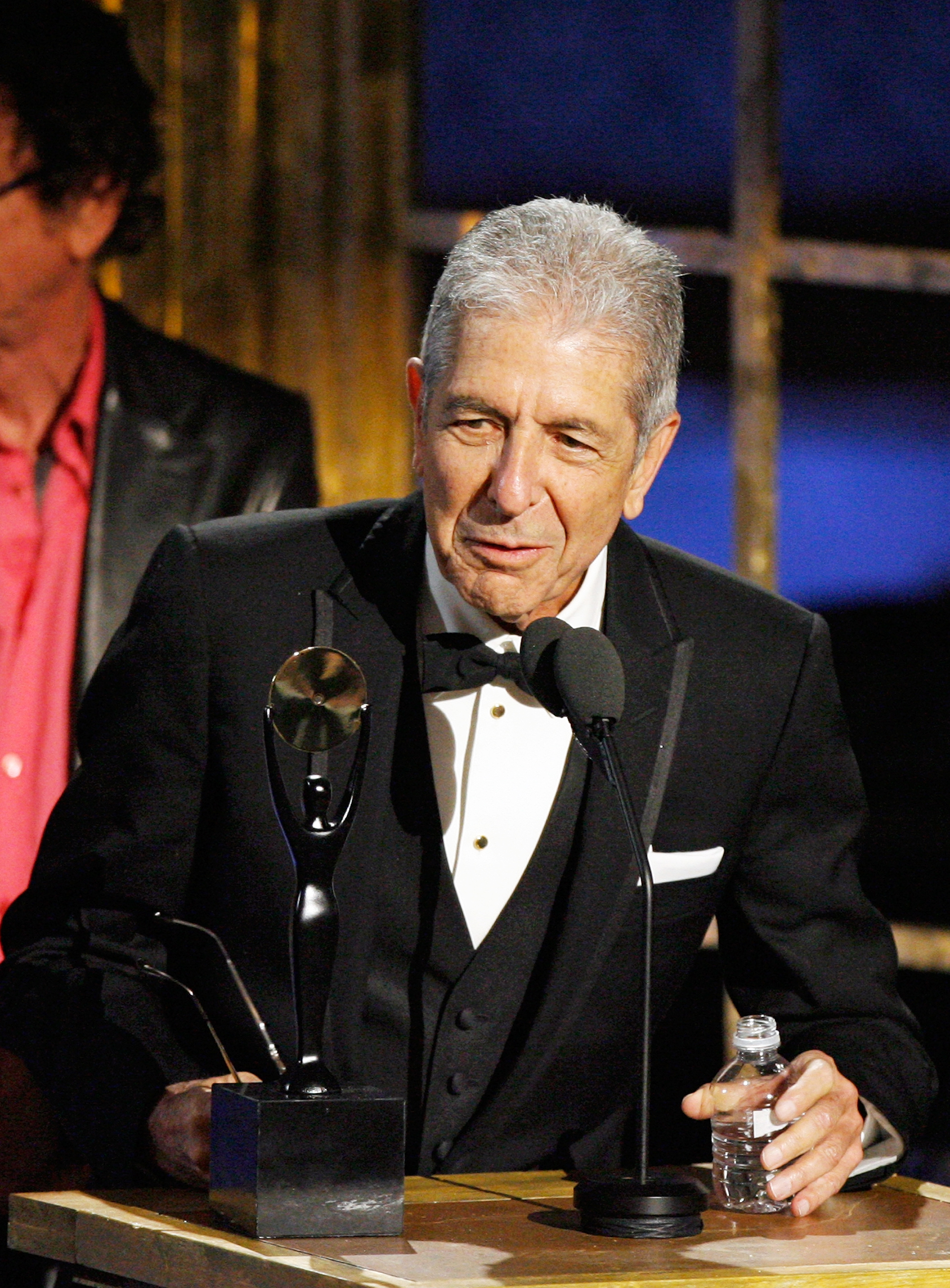 Leonard Cohen is inducted into the Rock and Roll Hall of Fame in New York City, on March 10, 2008.