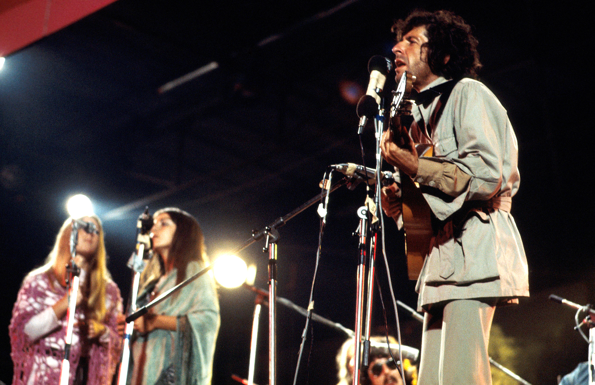 Leonard Cohen performs at the Isle Of Wight Festival, on Aug. 30 1970.