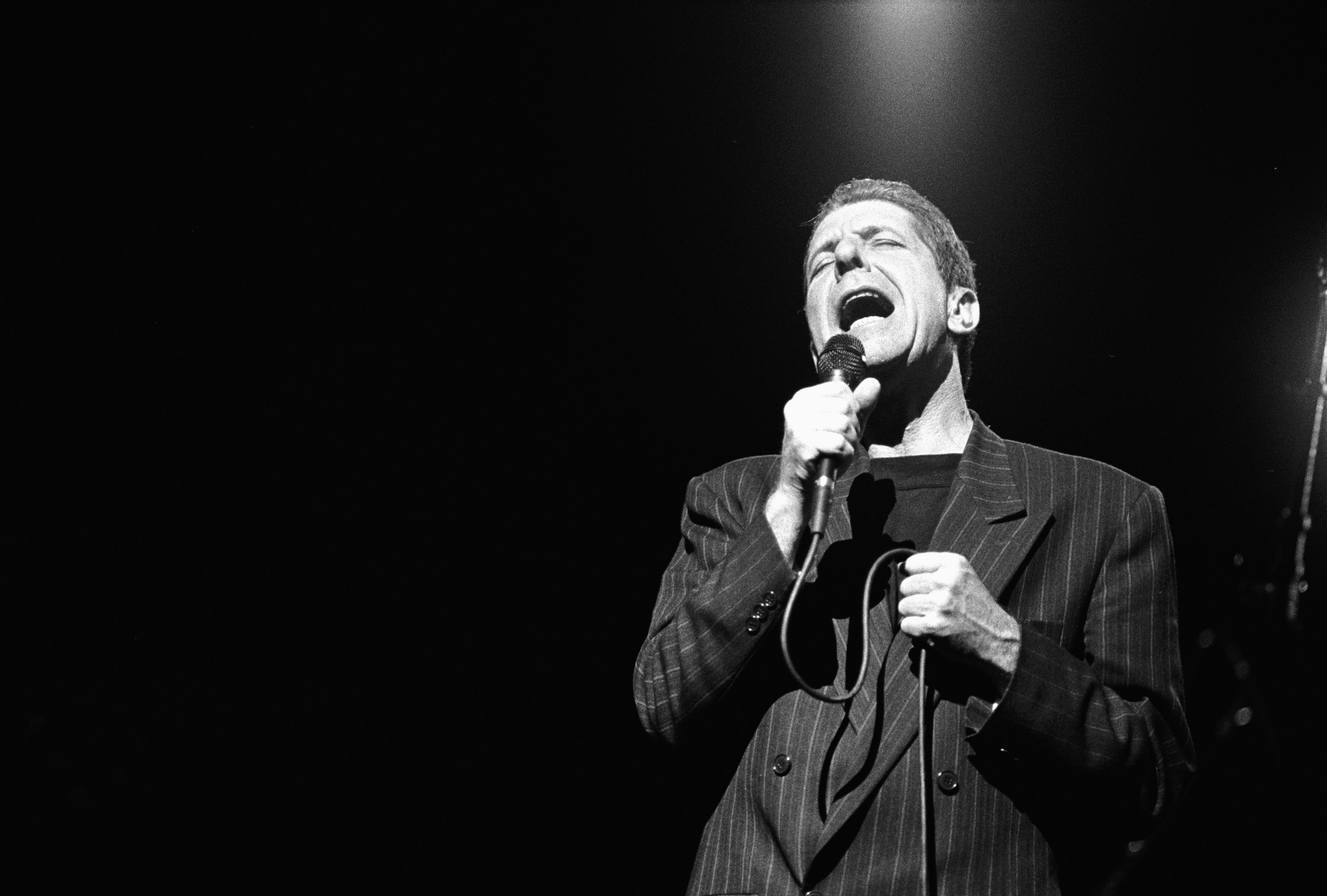 Leonard Cohen performs at Het Muziektheater in Amsterdam, Netherlands on April 18, 1988.