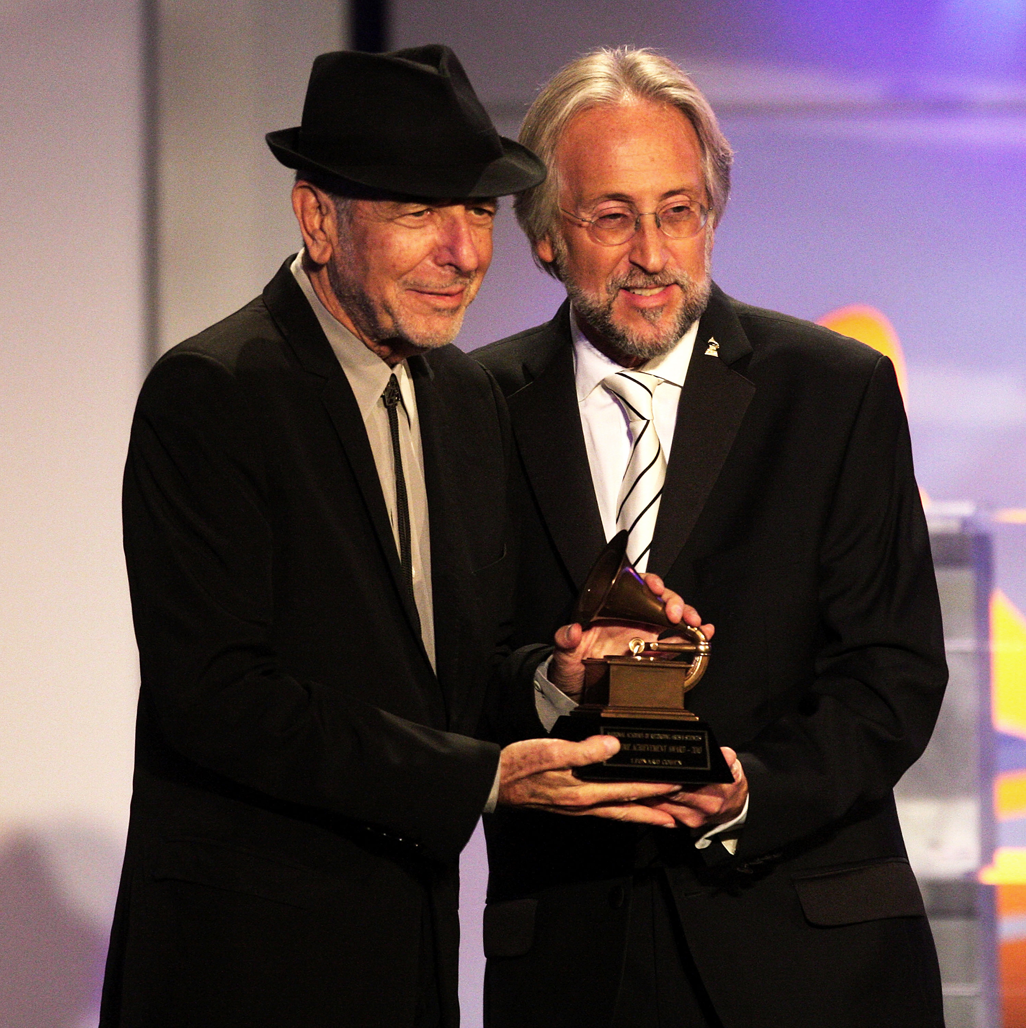 Leonard Cohen and Neil Portnow, President/CEO of the Recording Academy, attend the 52nd annual GRAMMY Awards-Special Merit Awards on Jan. 30, 2010 in Los Angeles.