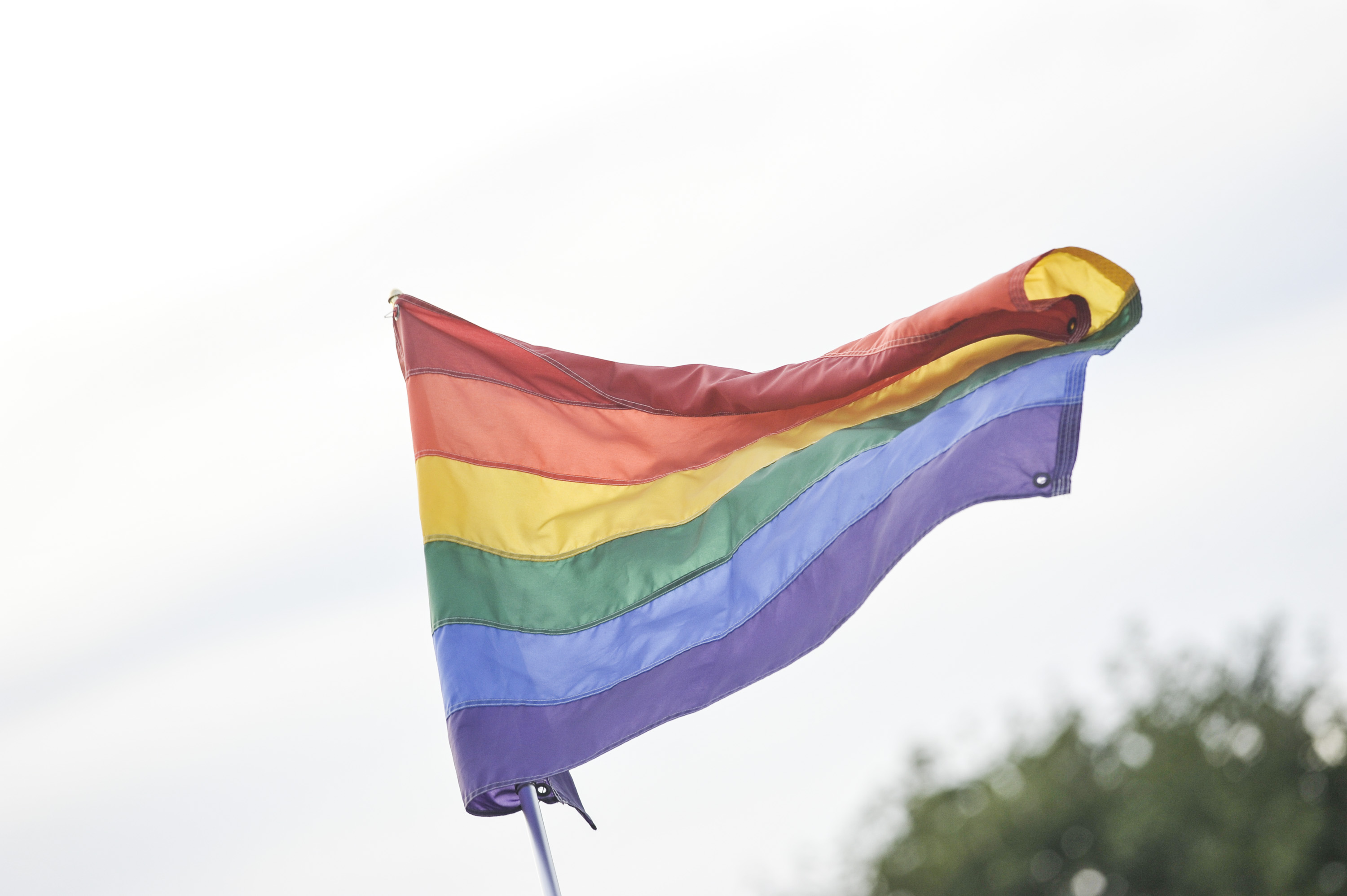 The rainbow flag, commonly the gay pride flag and LGBT pride flag, is seen during the 2016 Electric Zoo Festival at Randall's Island on September 2, 2016 in New York City.