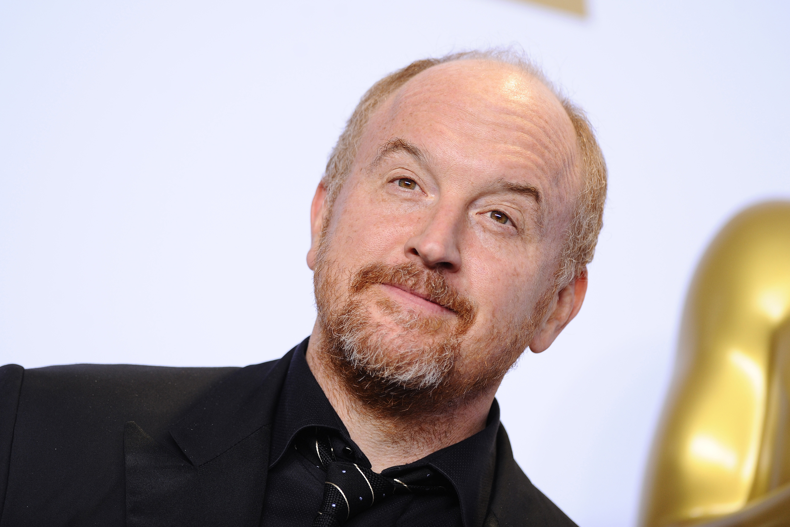 Louis C.K. poses in the press room during the 88th Annual Academy Awards at Loews Hollywood Hotel in Los Angeles, on Feb. 28, 2016.