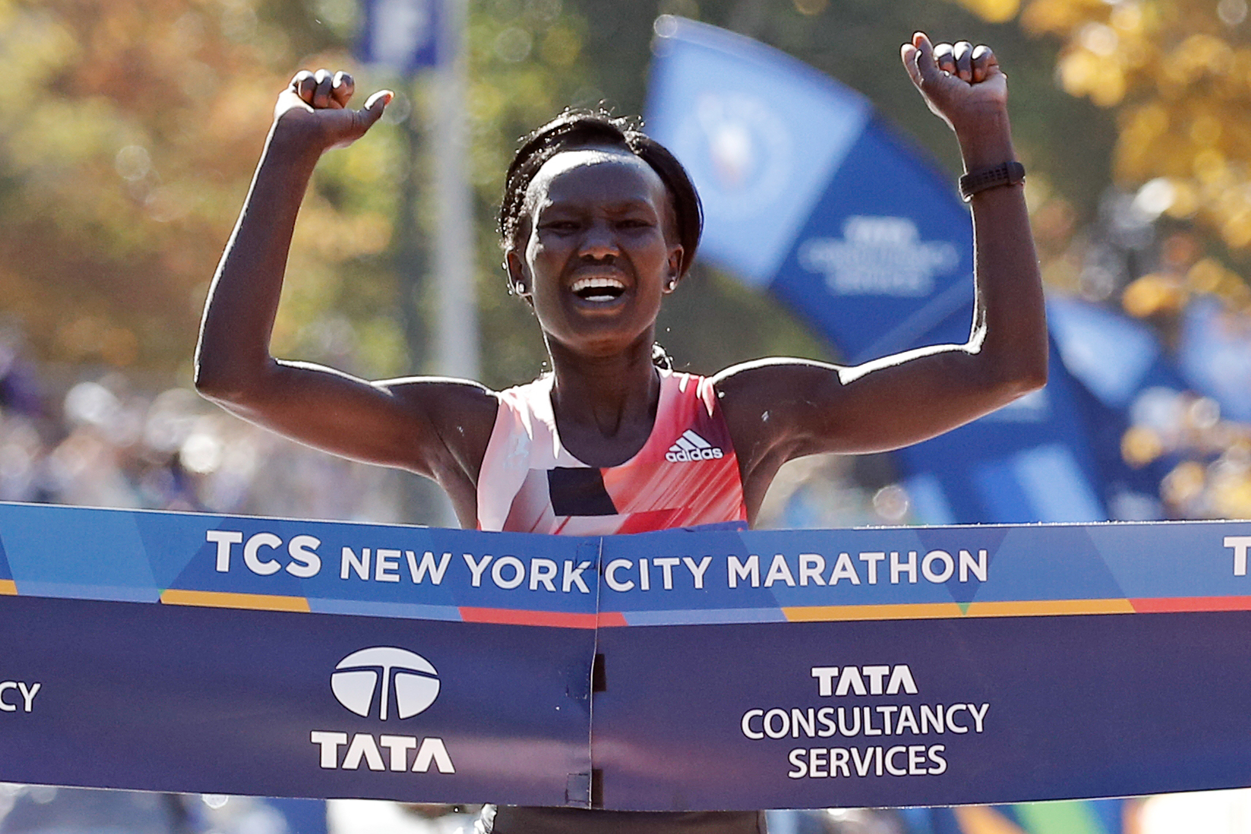 Mary Keitany of Kenya crosses the finish line to win the women's field of the 2016 New York City Marathon in New York City on Nov. 6, 2016.