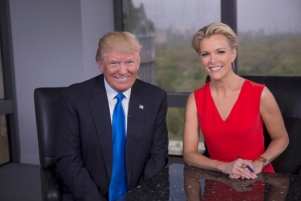 Megyn Kelly (R) and Donald Trump (L) during the FOX special that aired May 17, 2016.