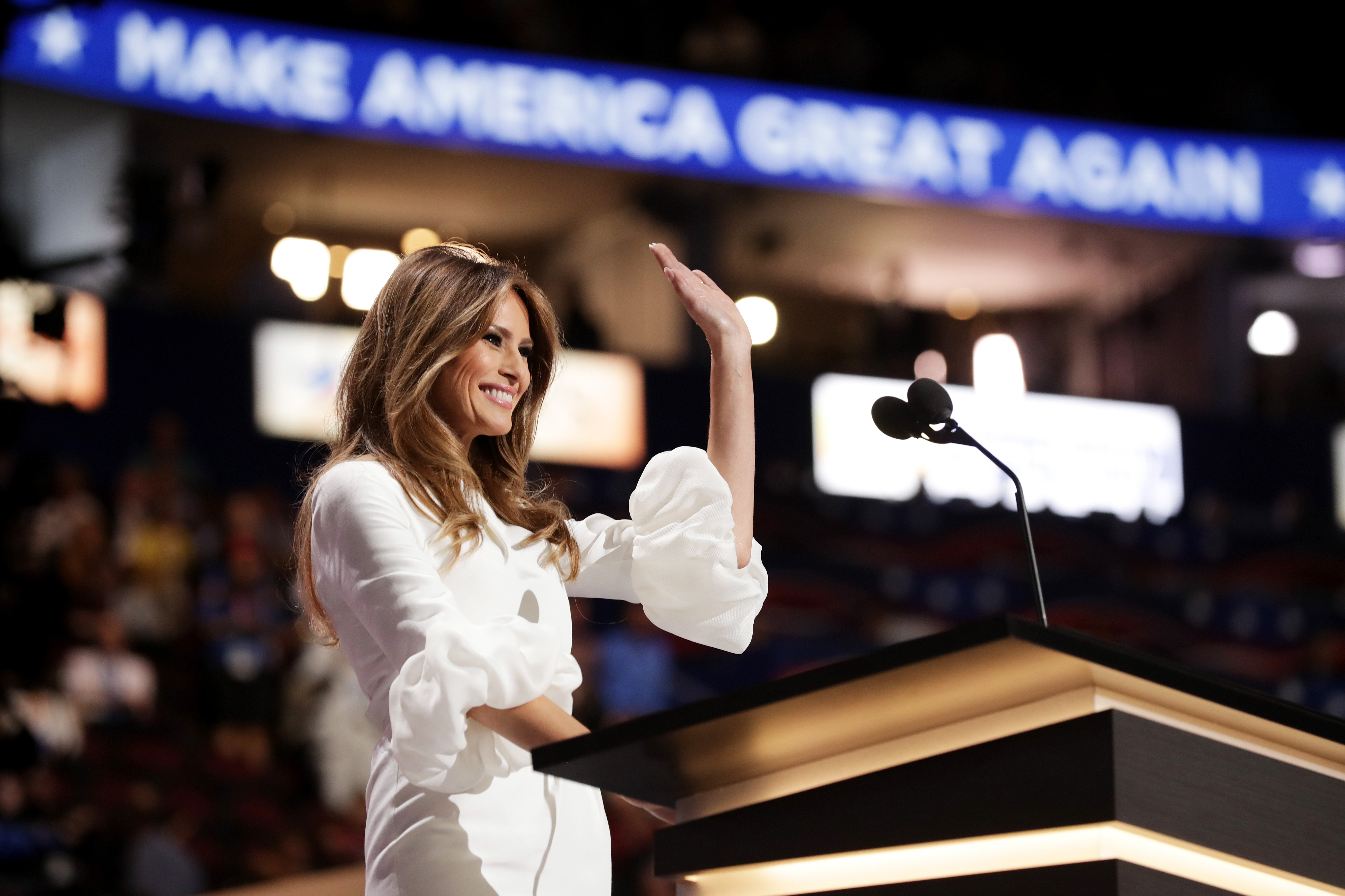 Melania Trump, wife of Presumptive Republican presidential nominee Donald Trump, waves to the crowd after delivering a speech on the first day of the Republican National Convention on July 18, 2016 at the Quicken Loans Arena in Cleveland, Ohio.