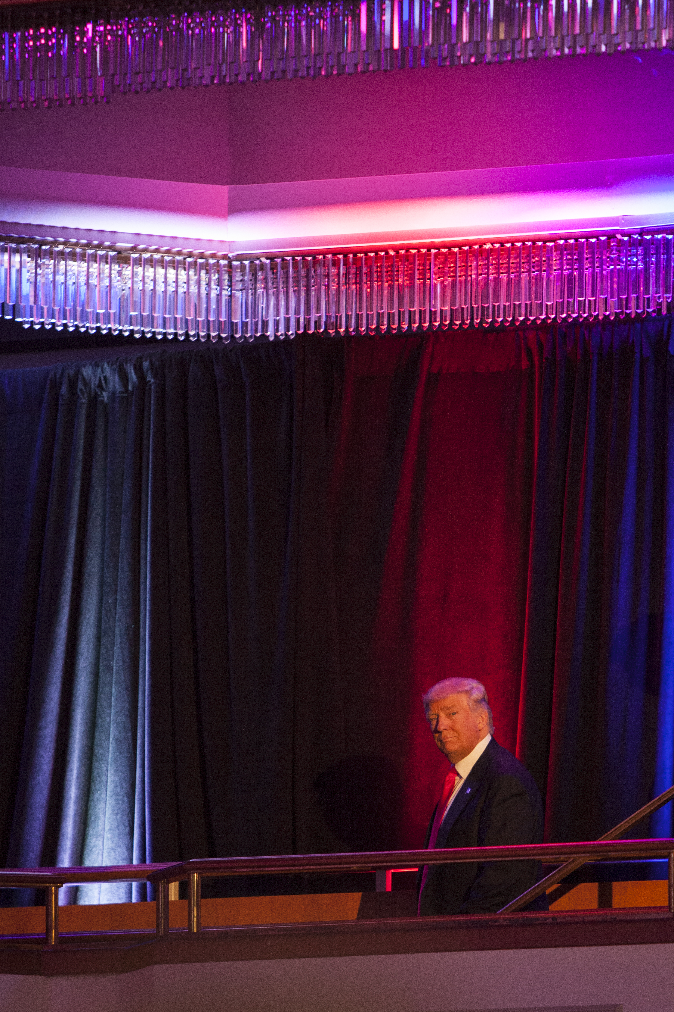 President-elect Donald Trump arrives to deliver his speech at his Victory Night party on Tuesday, Nov. 8, 2016 in New York's Manhattan borough. Trump defeated Democratic nominee Hillary Clinton in the contest for president of the United States.