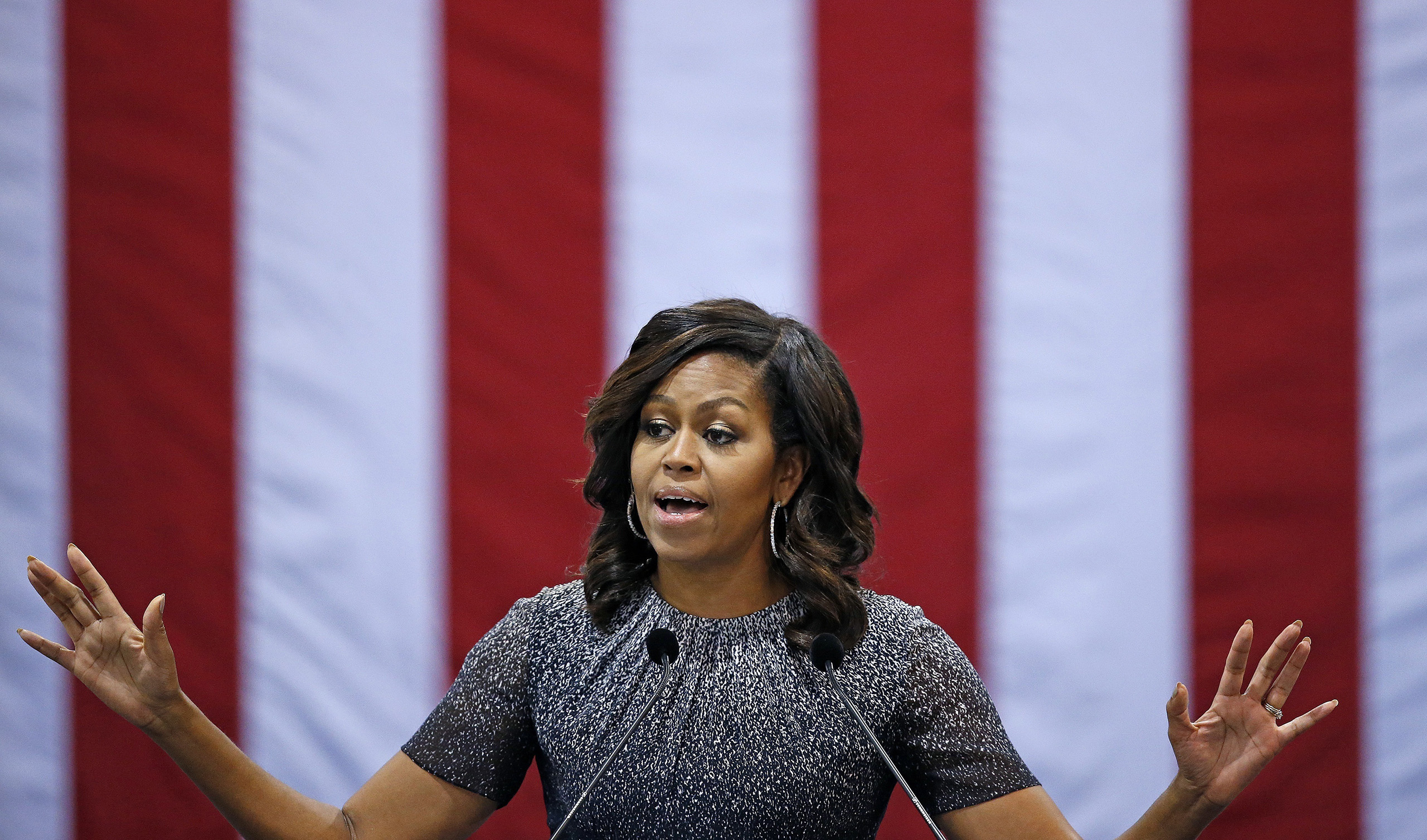 Michelle Obama speaks during a campaign rally for Hillary Clinton, on Oct. 20, 2016, in Phoenix.