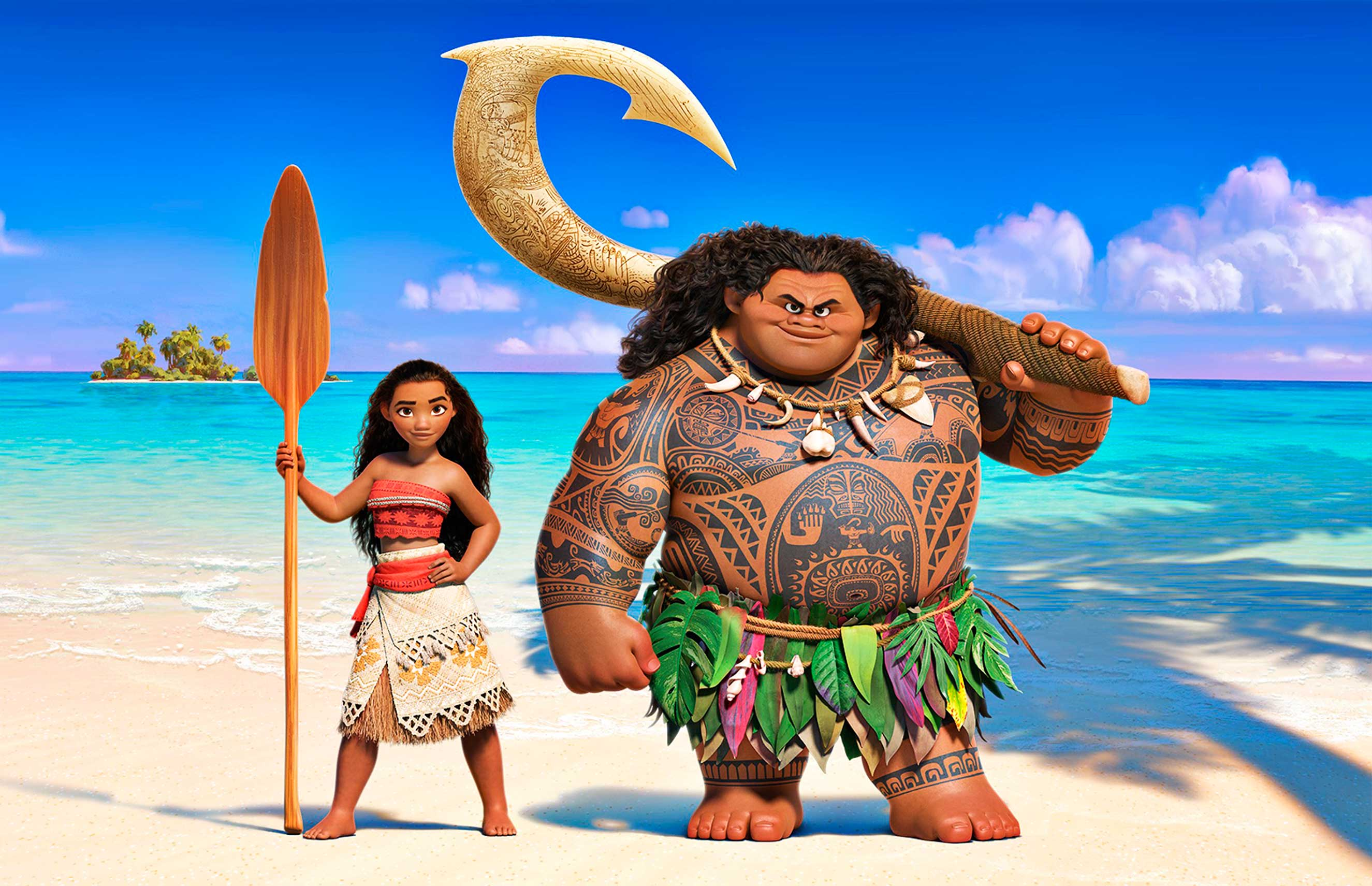 Moana (left) sails out on a daring mission to prove herself a master wayfinder. Along the way, she meets once-mighty demi-god Maui (right)