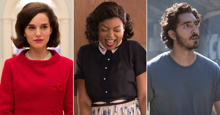From left: Jackie, Hidden Figures, and Lion.