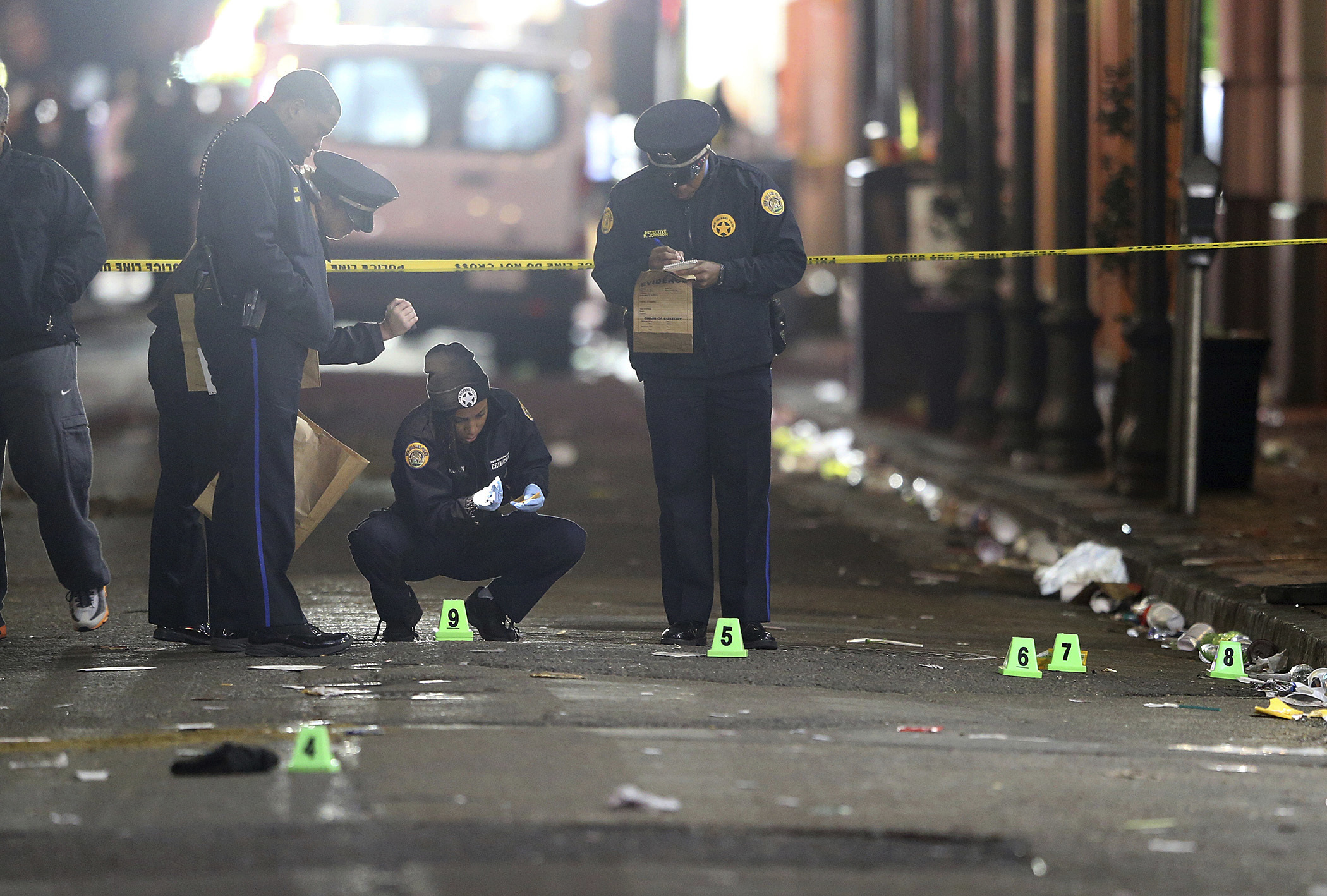 New Orleans Police investigate a fatal shooting at Iberville and Bourbon streets on Nov. 27, 2016.