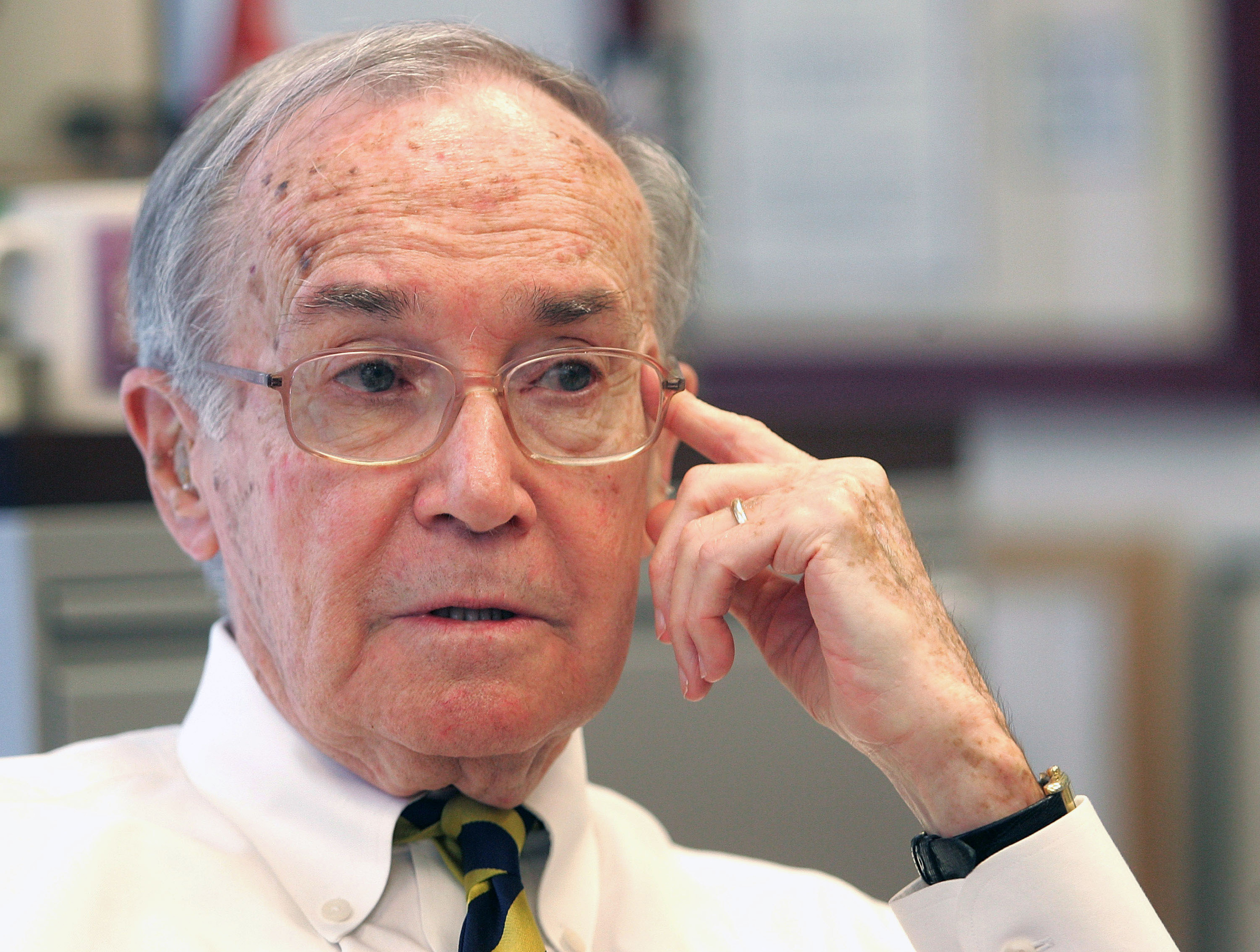 Newton Minow speaks during an interview in Chicago, Illinois, on June 11, 2008.