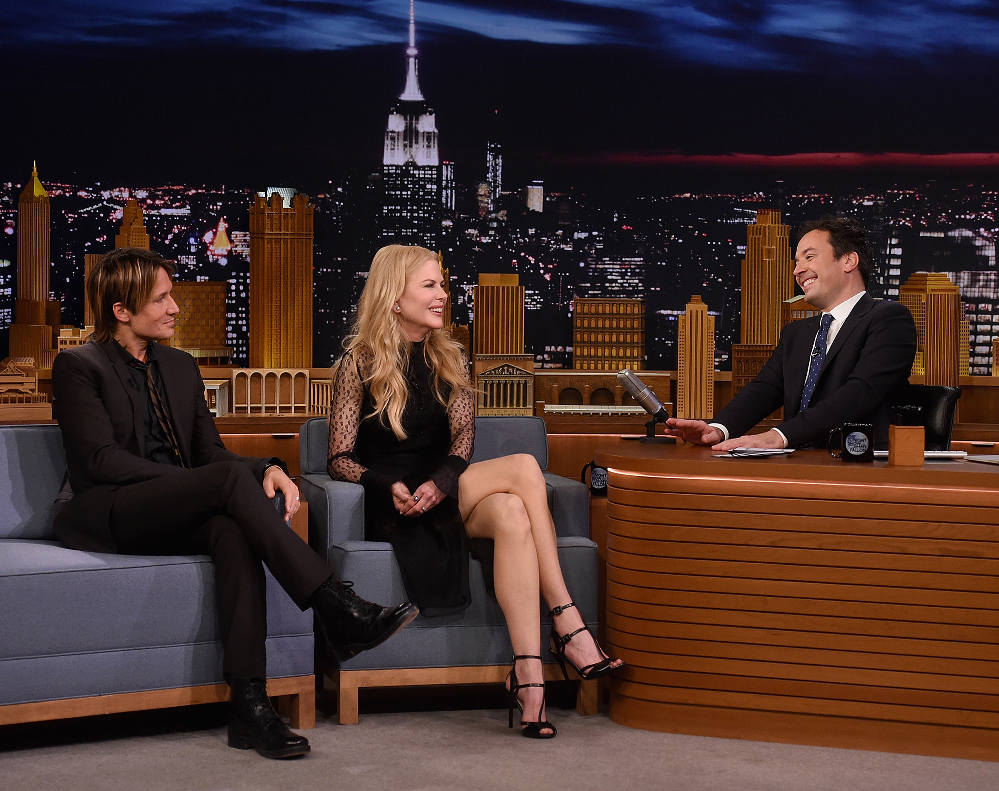 Keith Urban, Nicole Kidman and host Jimmy Fallon during a segment on  The Tonight Show Starring Jimmy Fallon  at Rockefeller Center on November 16, 2016 in New York City.  (Photo by Jamie McCarthy/Getty Images)