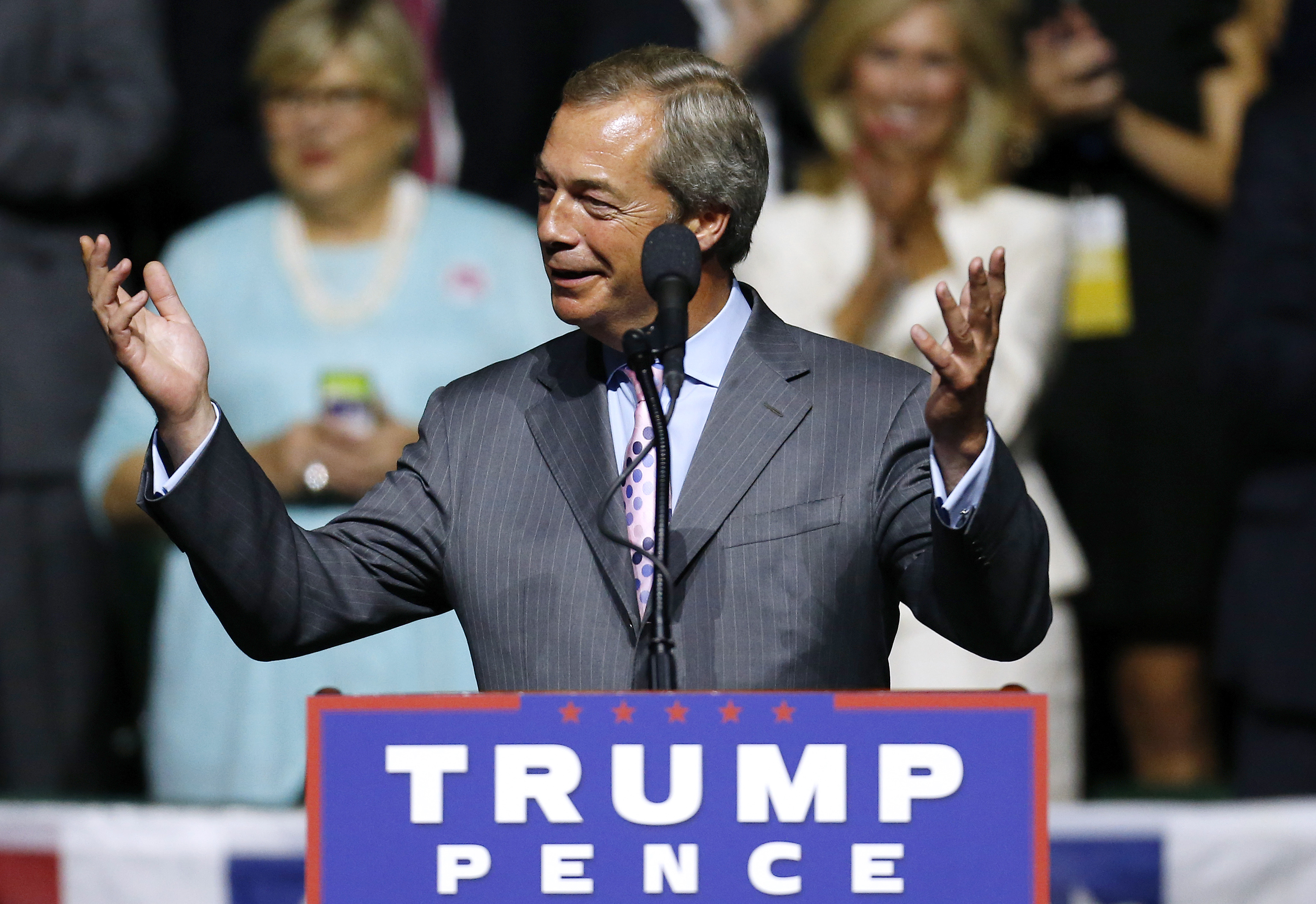U.K. Independence Party leader Nigel Farage speaks during a campaign rally for Republican presidential nominee Donald Trump at the Mississippi Coliseum in Jackson, Miss., on Aug. 24, 2016