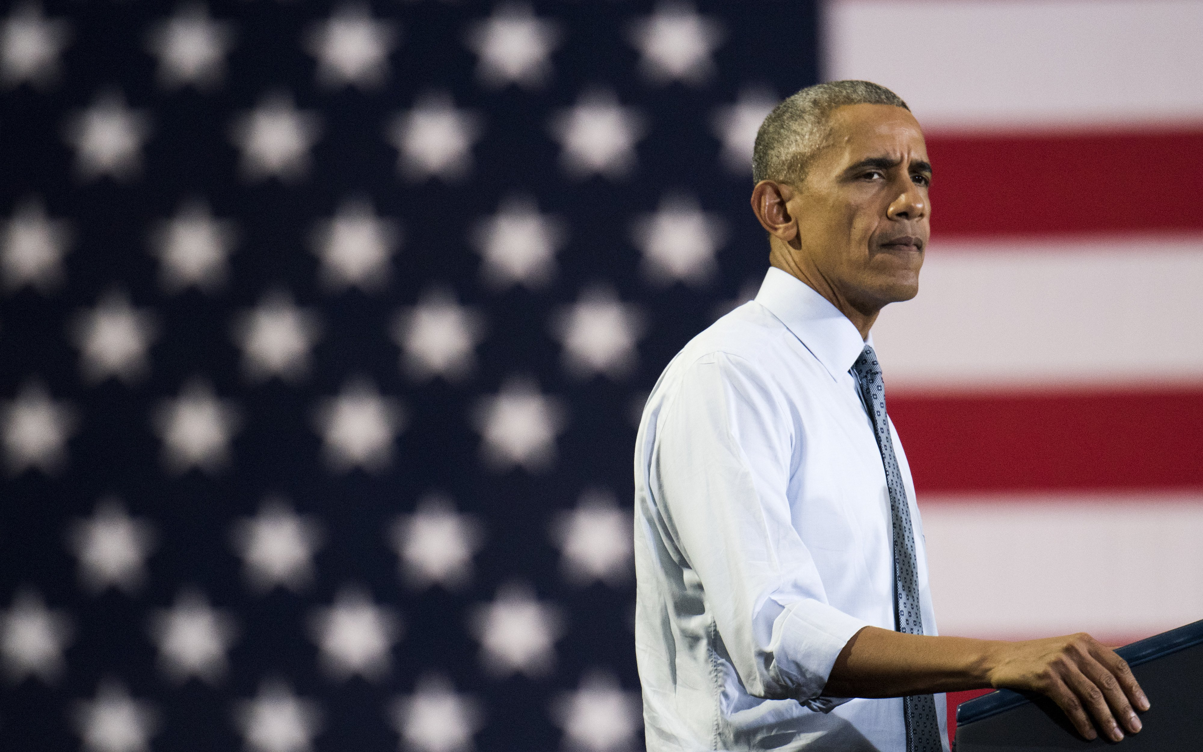 President Obama speaks during a campaign event for Hillary Clinton at Capital University on Nov. 1, 2016 in Columbus, OH.