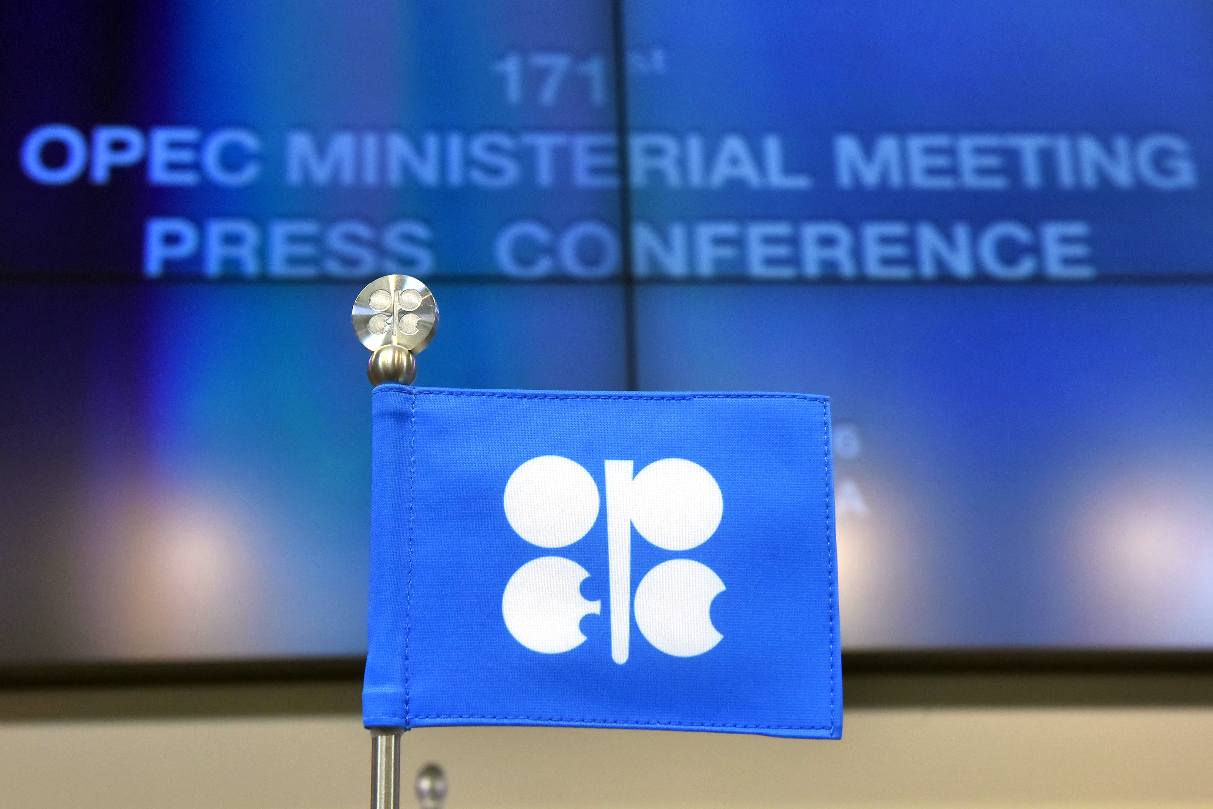 An OPEC branded flag sits on a table ahead of the 171st Organization of Petroleum Exporting Countries (OPEC) meeting in Vienna, Austria, on Wednesday, Nov. 30, 2016.