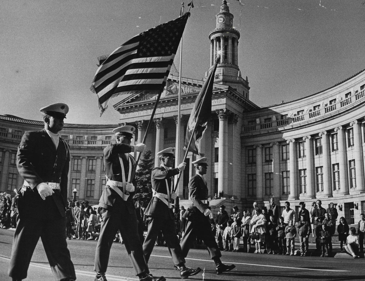 The Lowry Air Force Base Color Guard in the annual Veterans Day Parade In Denver on Nov. 11, 1963.