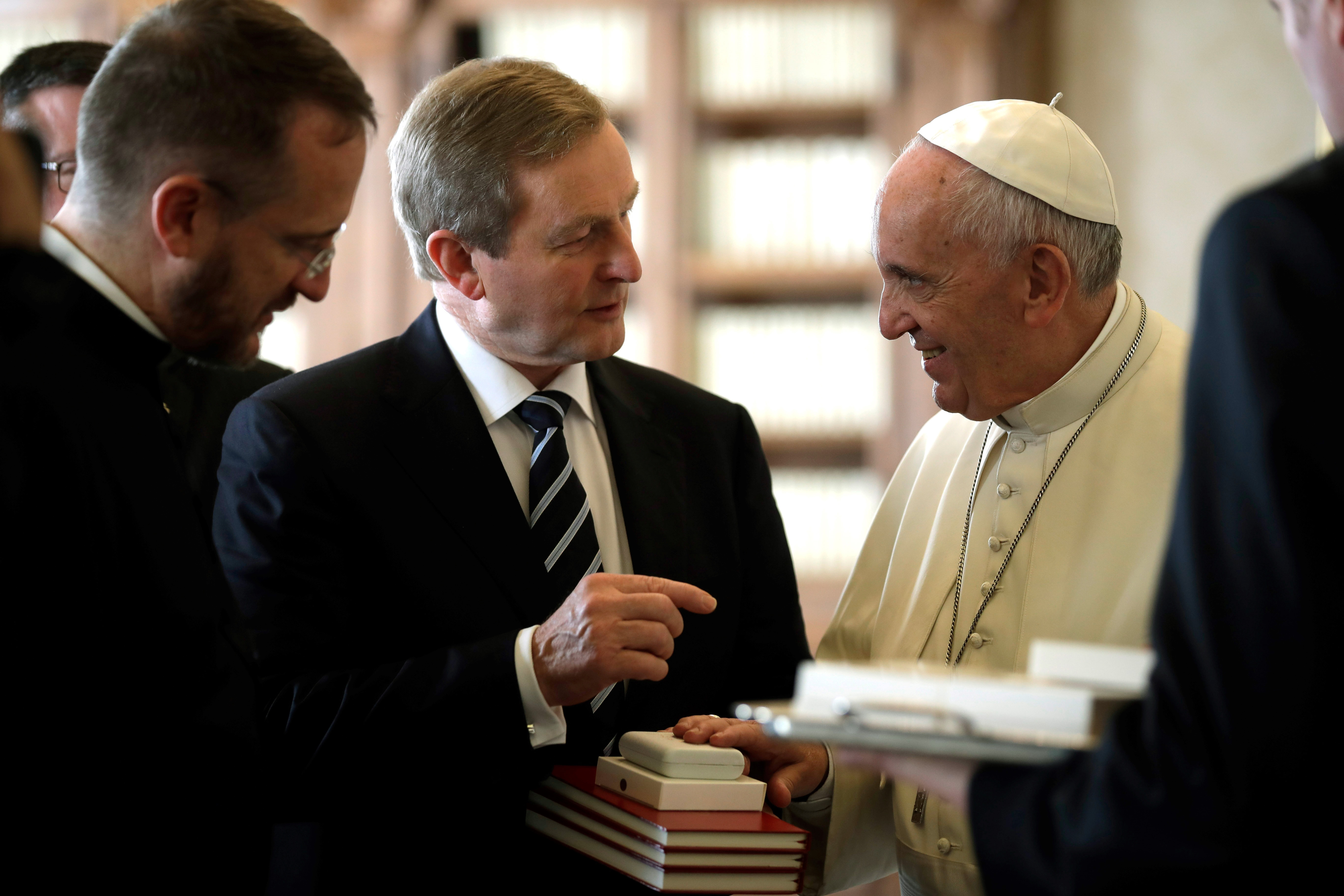 Pope Francis (R) talks with Irish Prime Minister Enda Kenny during a private audience on November 28, 2016 at the Vatican.