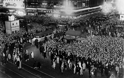 A crowd of people gathered in Times Square to watch the returns of the election to decide the new American President on Nov. 13, 1928. Herbert Hoover was returned with an overwhelming majority.