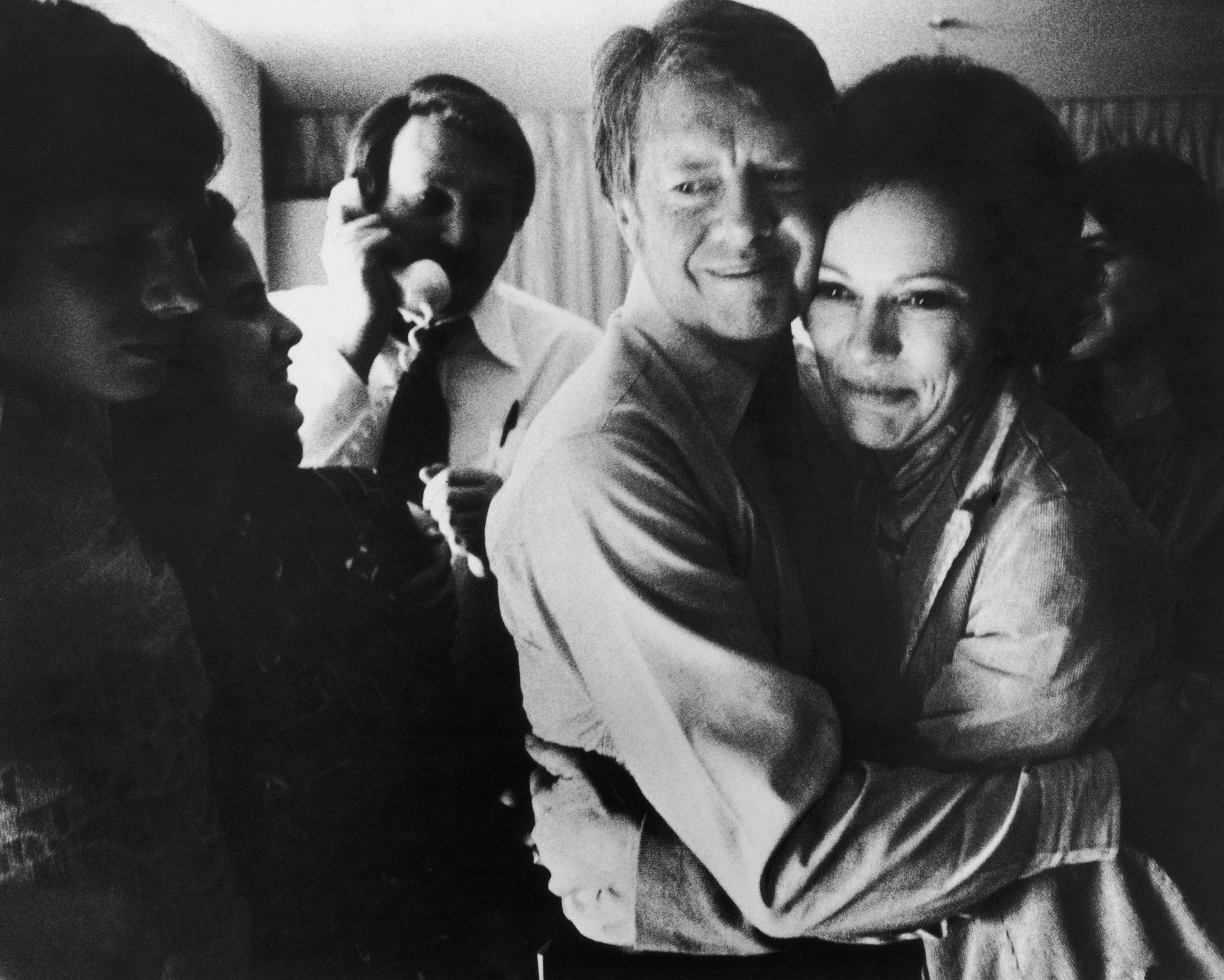 President-elect Jimmy Carter embraces his wife Rosalynn after receiving the final news of his victory in the national general election, on Nov. 2, 1976.
