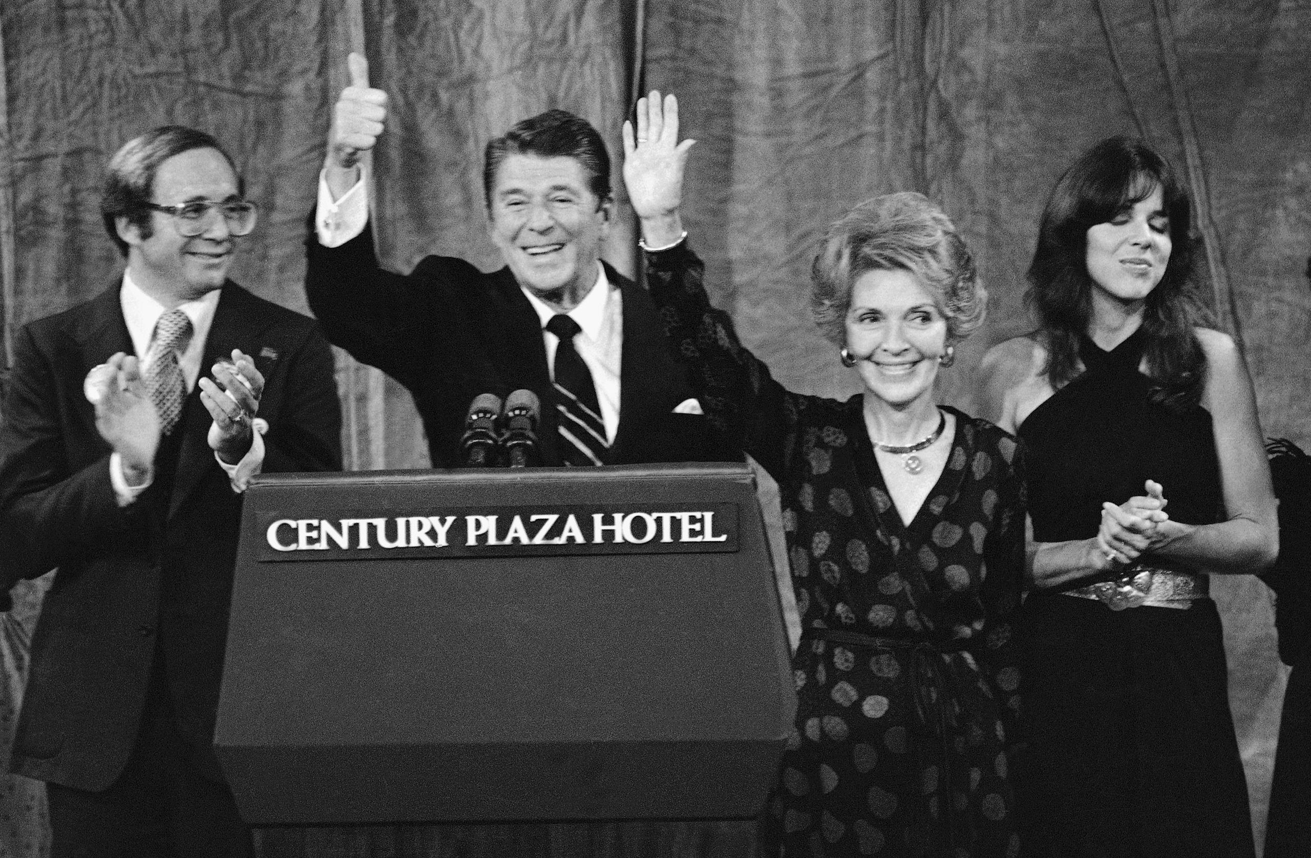 President-elect Ronald Reagan and his wife Nancy wave to supporters after speaking at his election night headquarters in Los Angeles, on Nov. 5, 1980. Reagan swept to an unusually lopsided win over President Jimmy Carter.