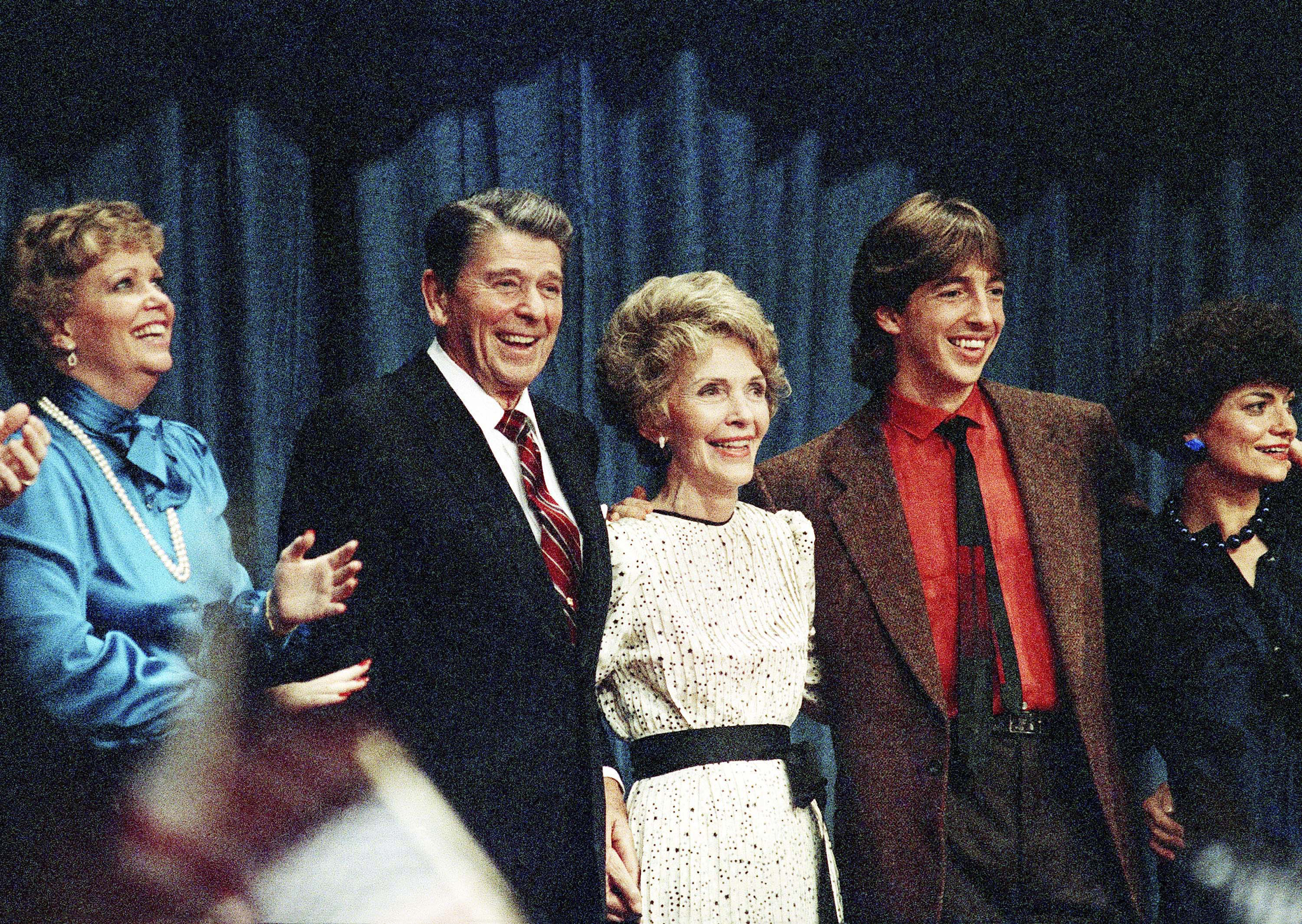 The Reagans  smile and gather together during Ronald Reagan's victory, on Nov. 6, 1984.