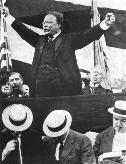 Former President Theodore Roosevelt gives a speech upon winning the election in 1901.