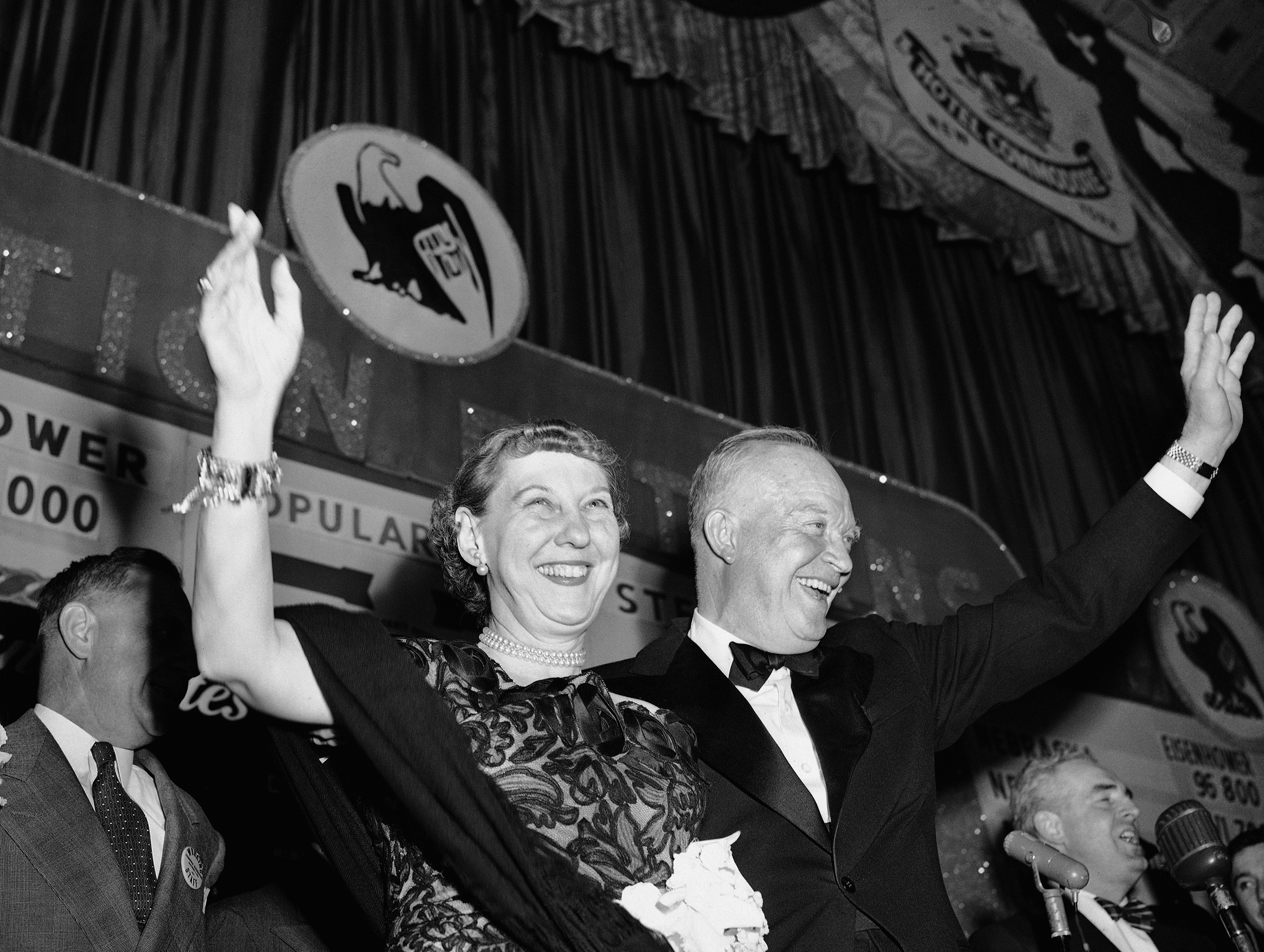 President-elect Dwight Eisenhower and the First Lady-elect Mamie Eisenhower wave to the cheering crowd in the Grand Ballroom of the Hotel Commodore in New York City on Nov. 5, 1952.