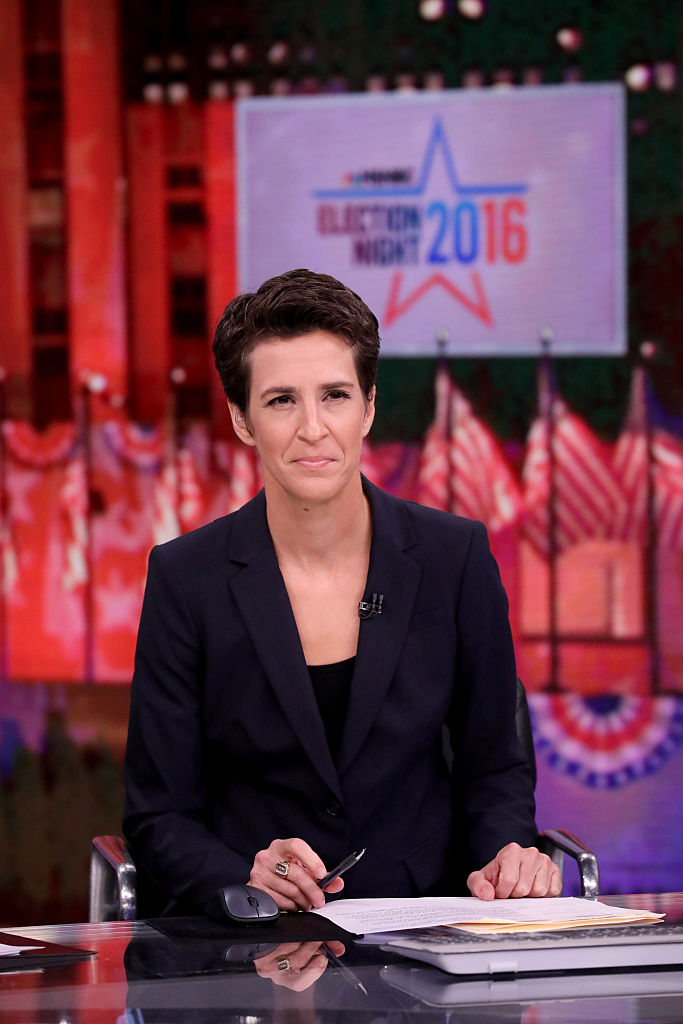 MSNBC - ELECTION COVERAGE -- Election Night 2016 -- Pictured: Rachel Maddow, Host,  The Rachel Maddow Show  on Tuesday, November 8, 2016 from New York -- (Photo by: Heidi Gutman/MSNBC/NBCU Photo Bank via Getty Images)