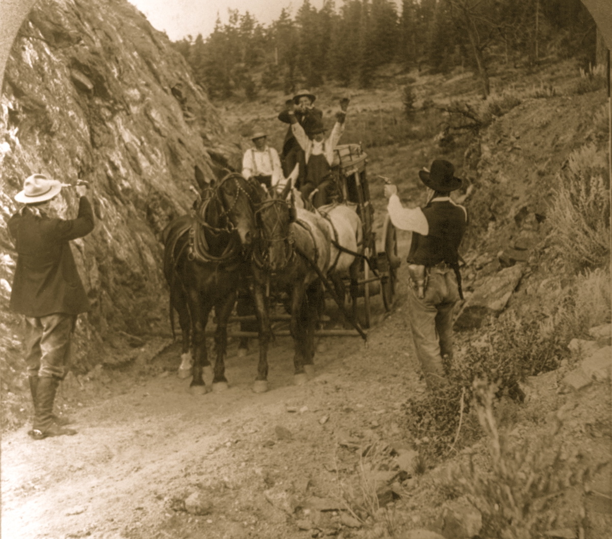 Wild West Stage Coach Robbery image, circa 1911