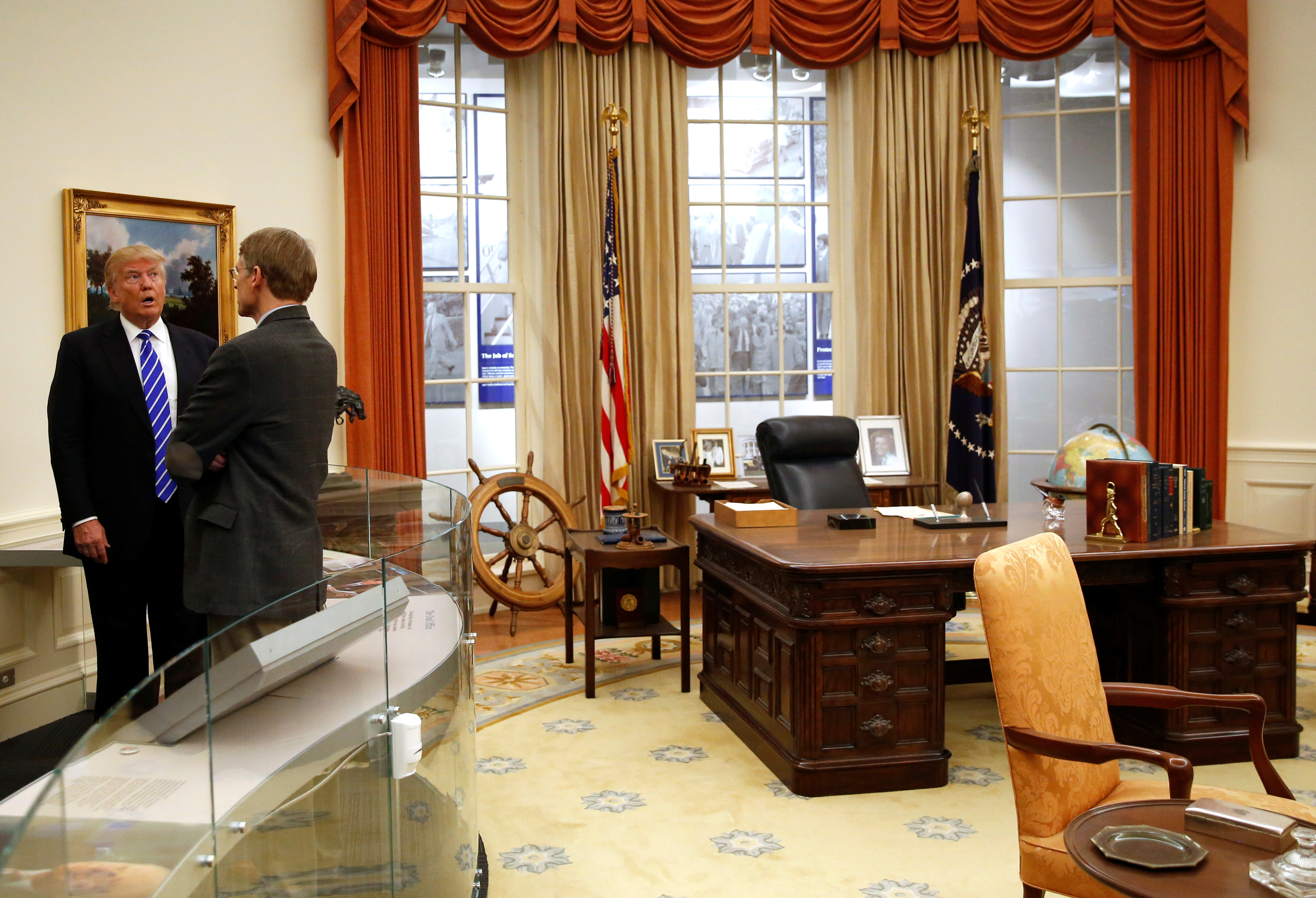 Donald Trump views a replica of the Oval Office on a tour of the Gerald Ford Presidential Museum in Grand Rapids, Michigan, on Sept. 30, 2016.