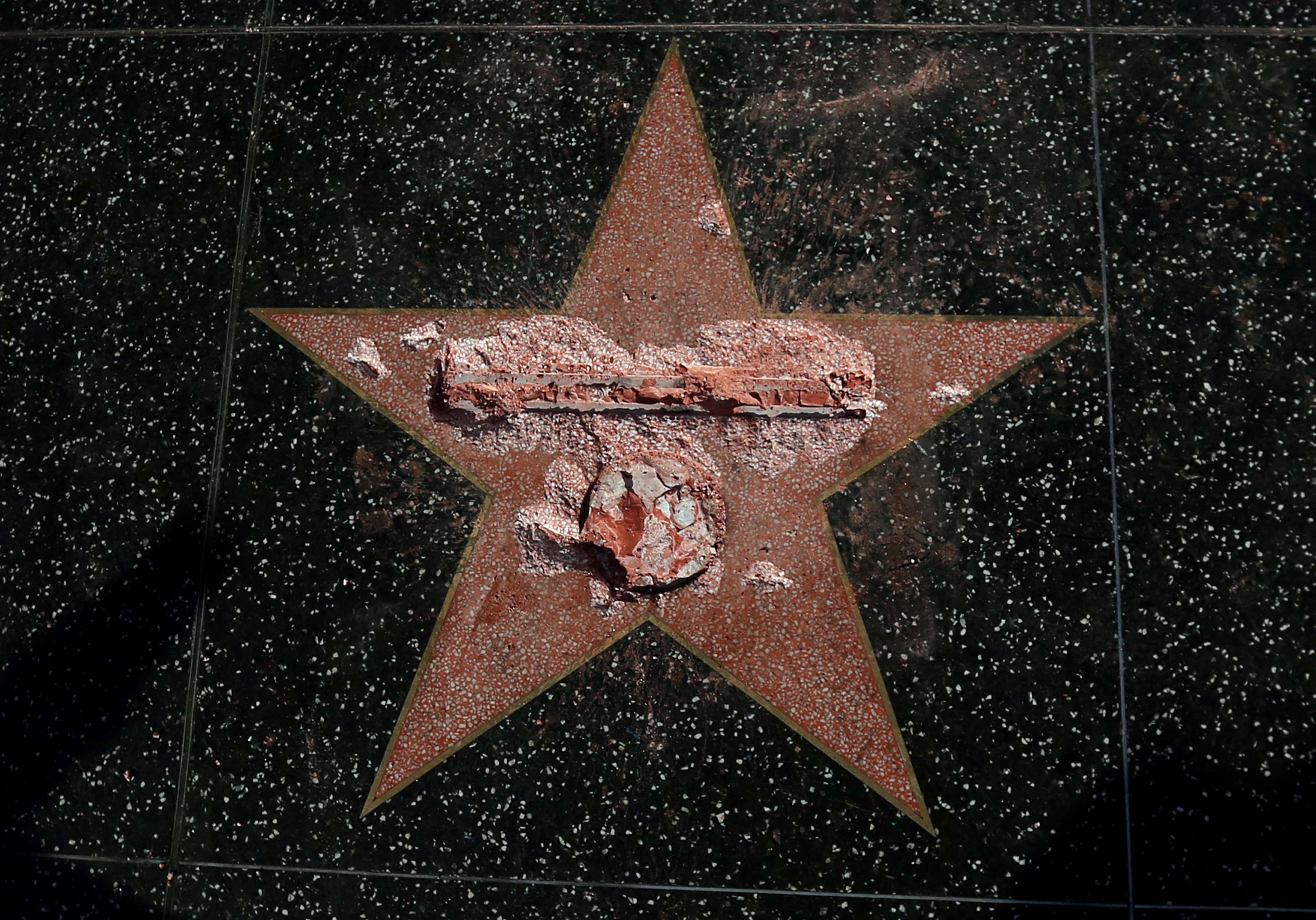 Donald Trump's star on the Hollywood Walk of Fame is seen after it was vandalized, on Oct. 26, 2016.