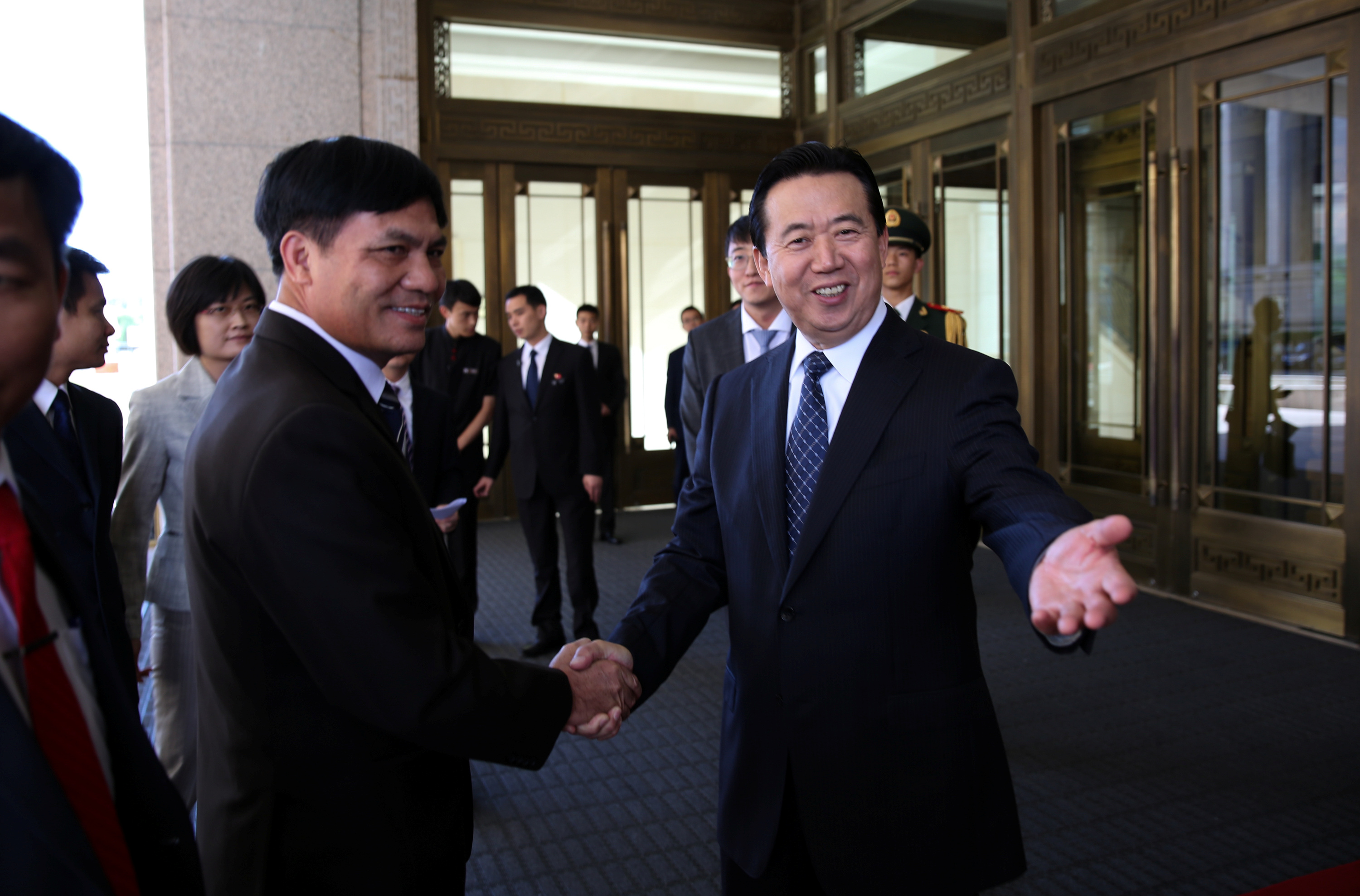 Meng Hongwei (R), Chinese Vice Public Security Minister in Beijing, China, Aug. 26, 2016.