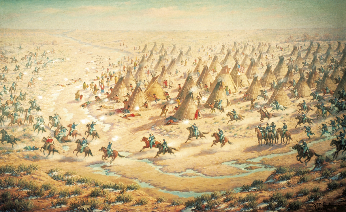 An early 20th-century depiction of the Sand Creek Massacre by Robert Lindneux