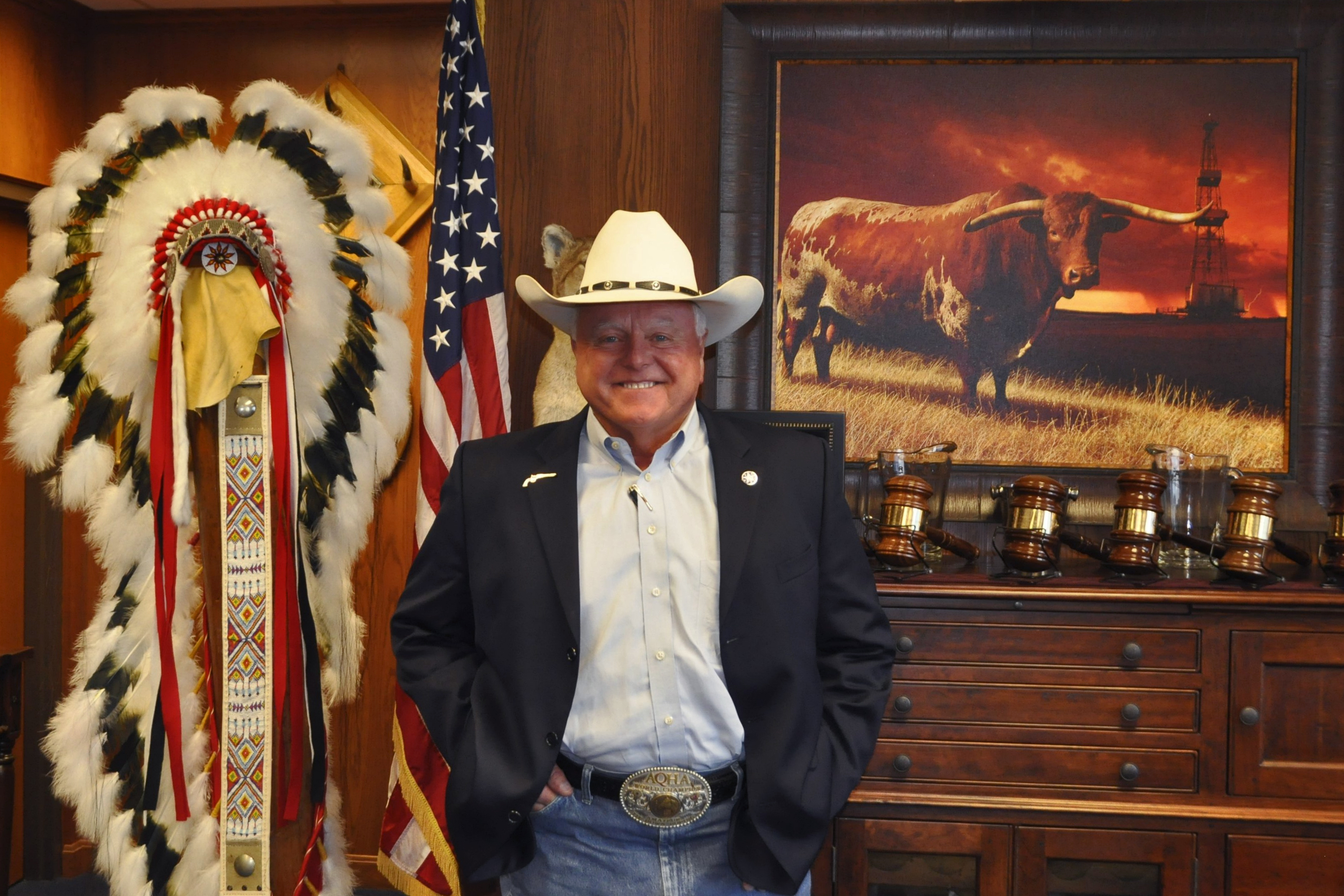 Texas Agriculture Commissioner Sid Miller stands in his office in Austin, Texas on Sept. 12, 2016.
